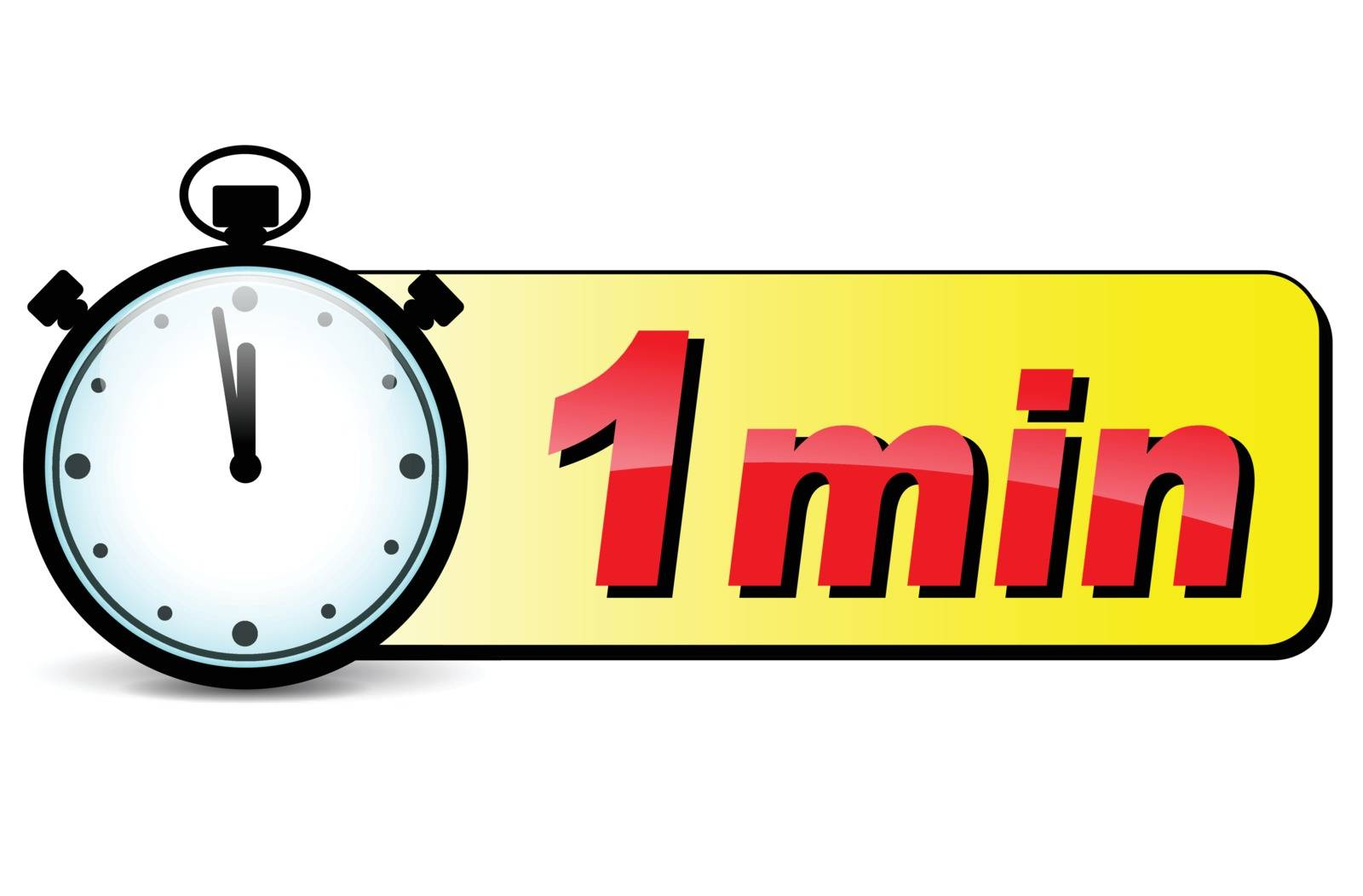 illustration of one minute stopwatch design icon