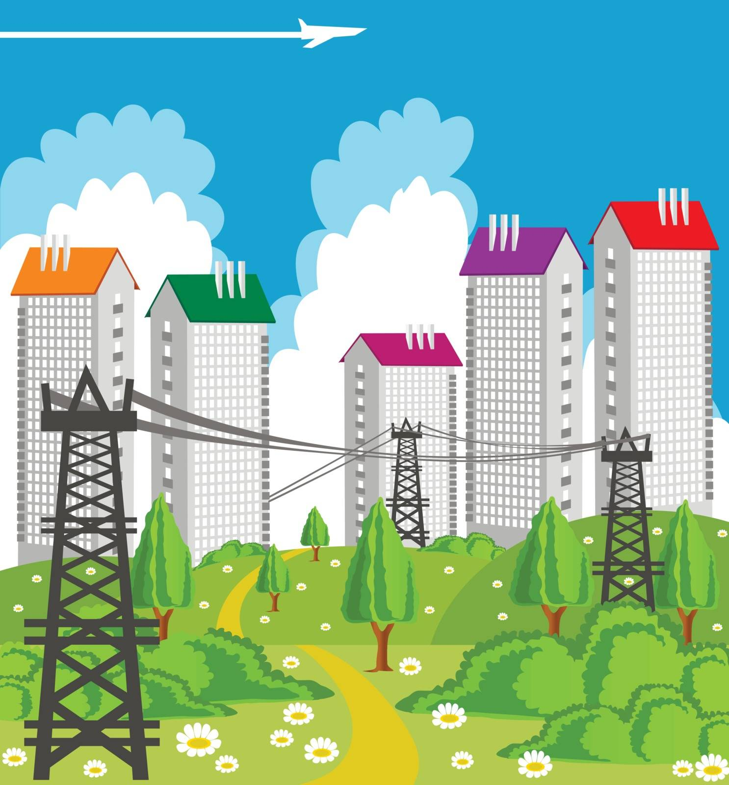 Cartoon illustration of a modern city with power line