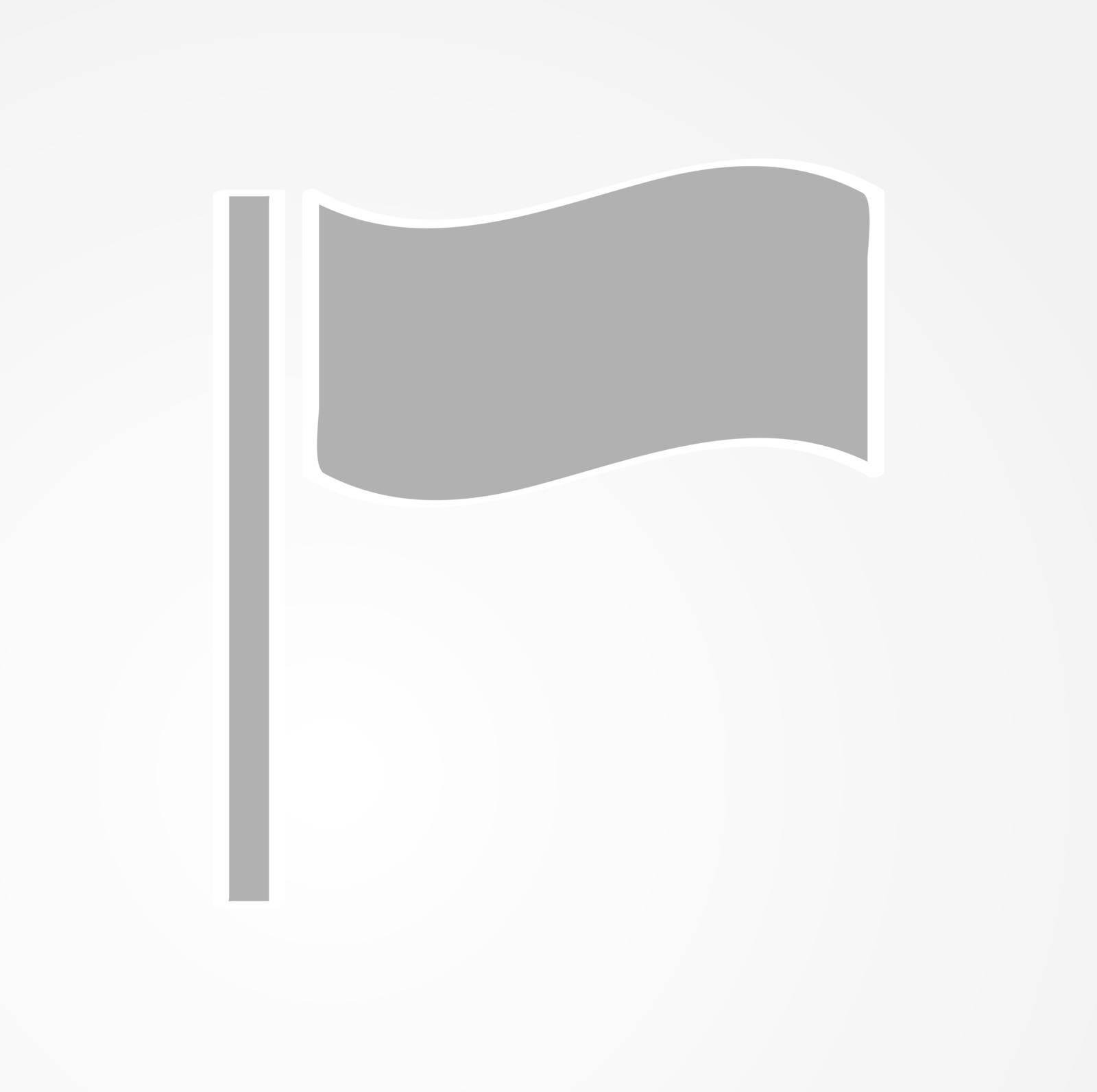 waving gray flag on gray gradient background