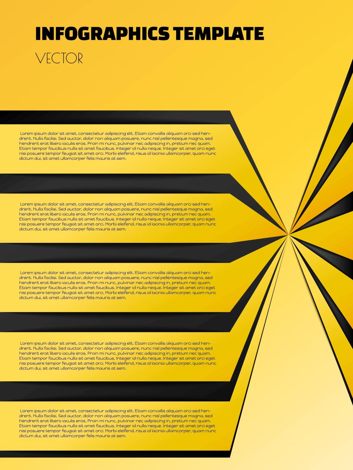 yellow or gold infographic template with blakc and yellow element