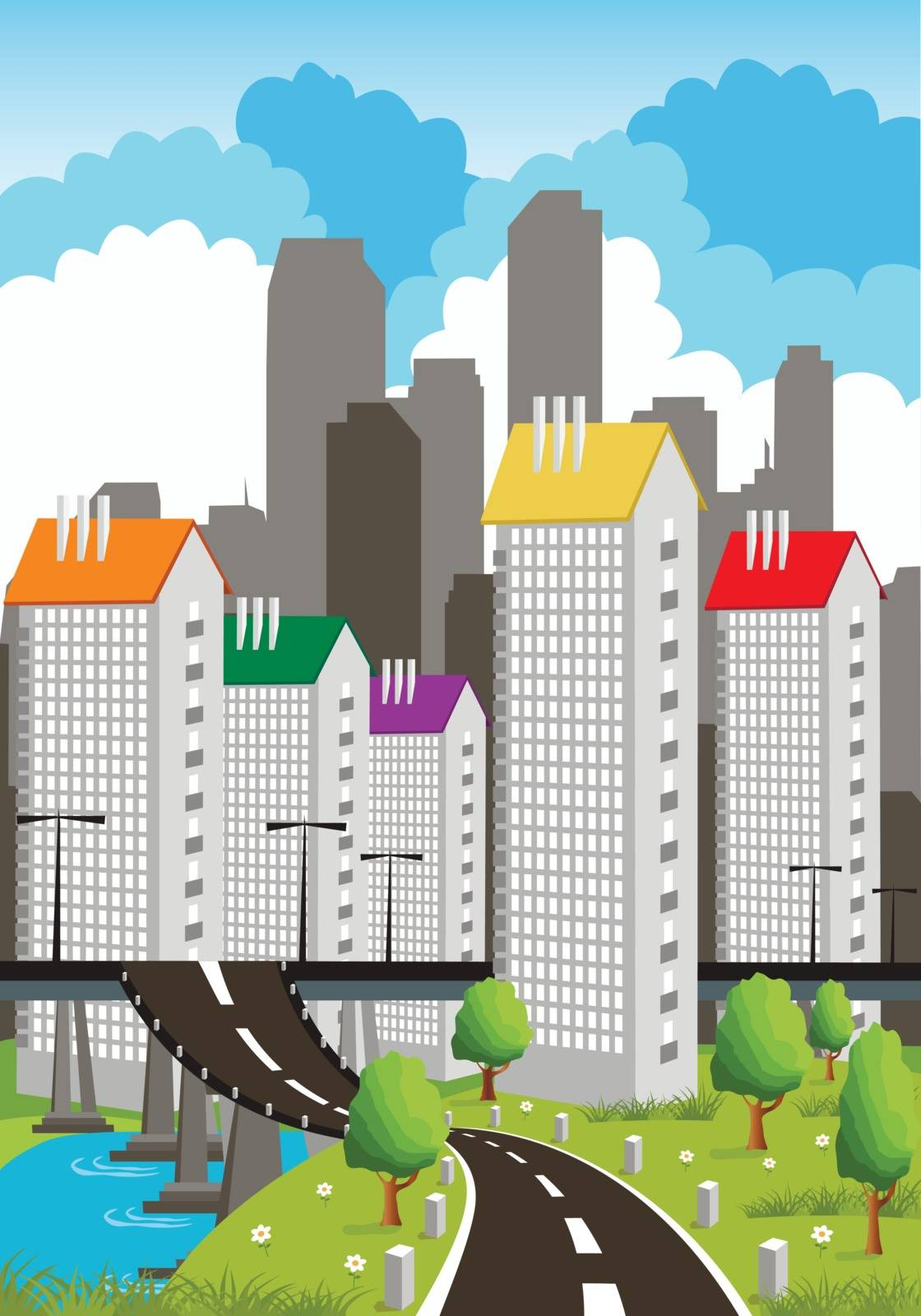 Cartoon illustration of a modern city with roads