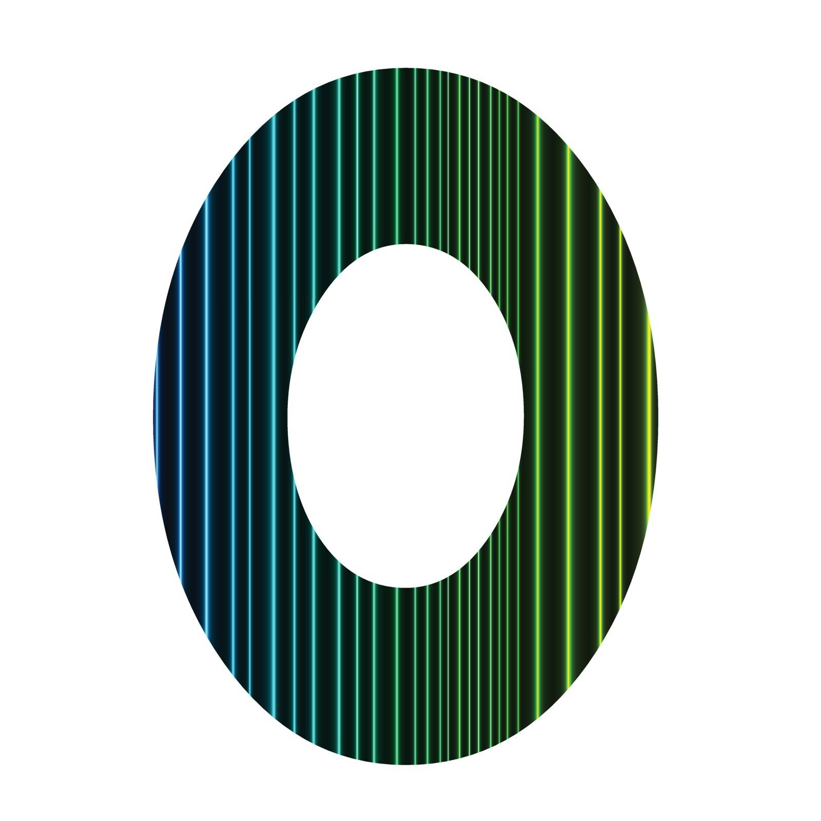 colorful illustration  with  neon letter O  on white background