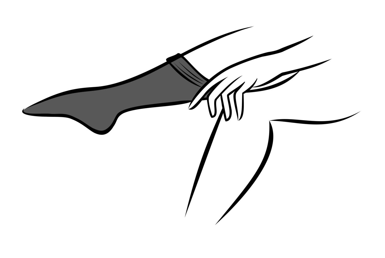 Vector illustration : Woman putting on stockings on a white background.
