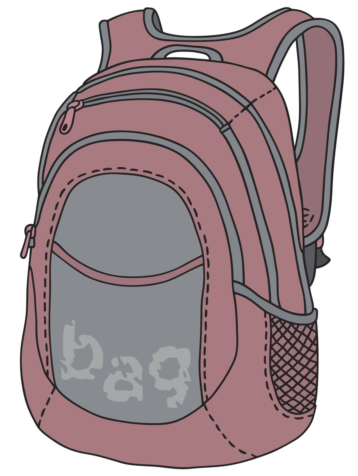Hand drawing of a violet sports bag