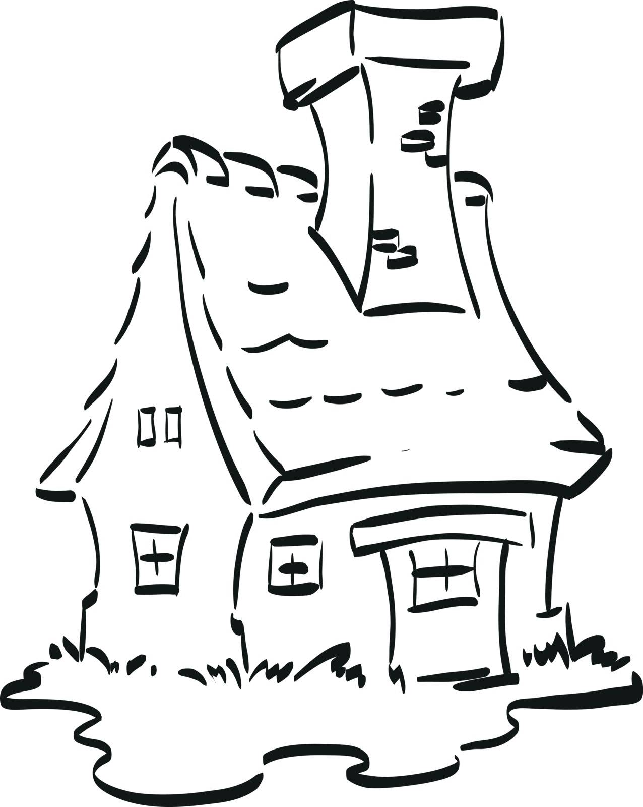 Nice fairy house with a huge chimney. Coloring page for little children.