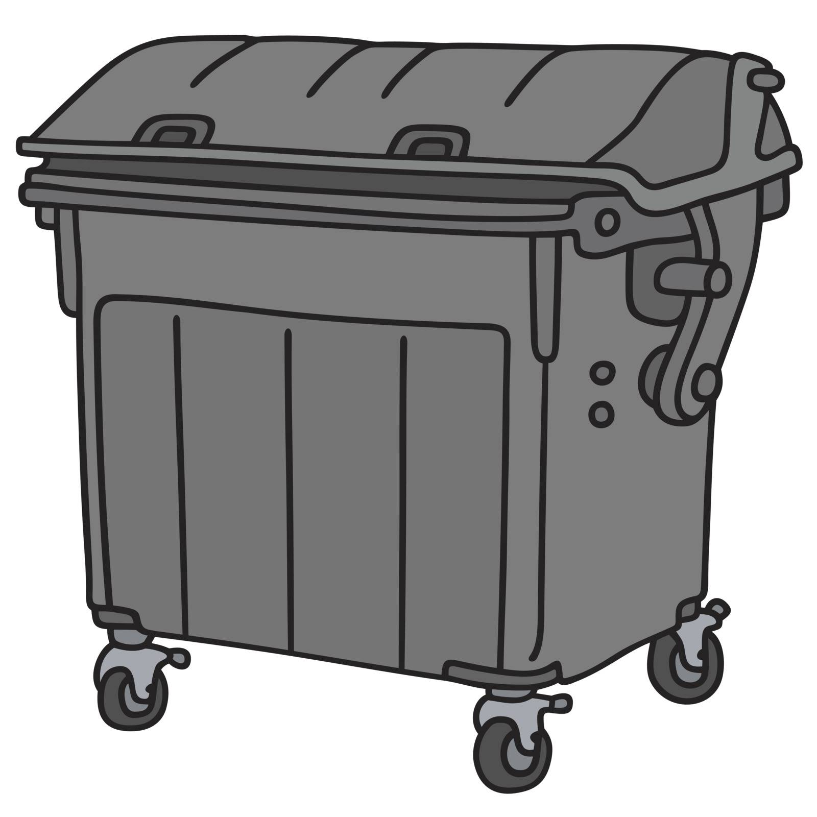 Hand drawing of a black plastic garbage container