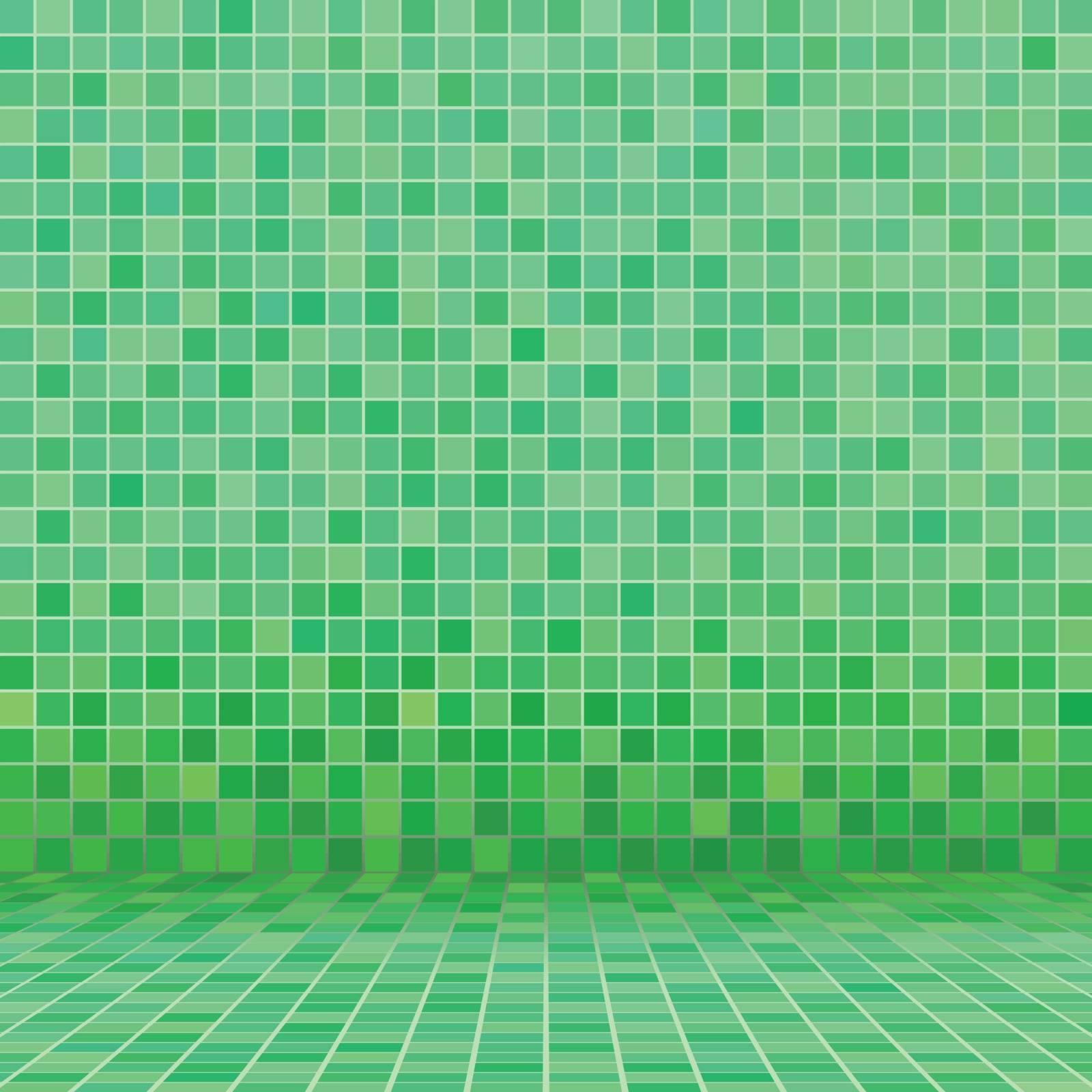 Green ceramic tile mosaic in swimming pool