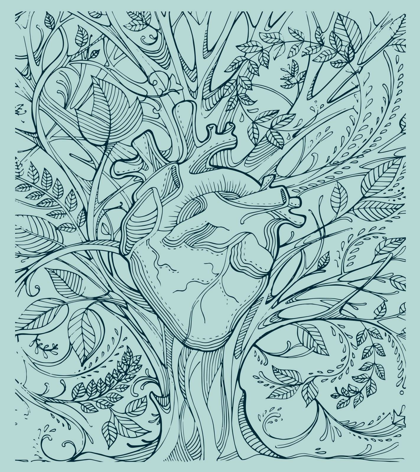 Hand drawn illustration or drawing of a human heart and a tree with a lot of branches and leafs