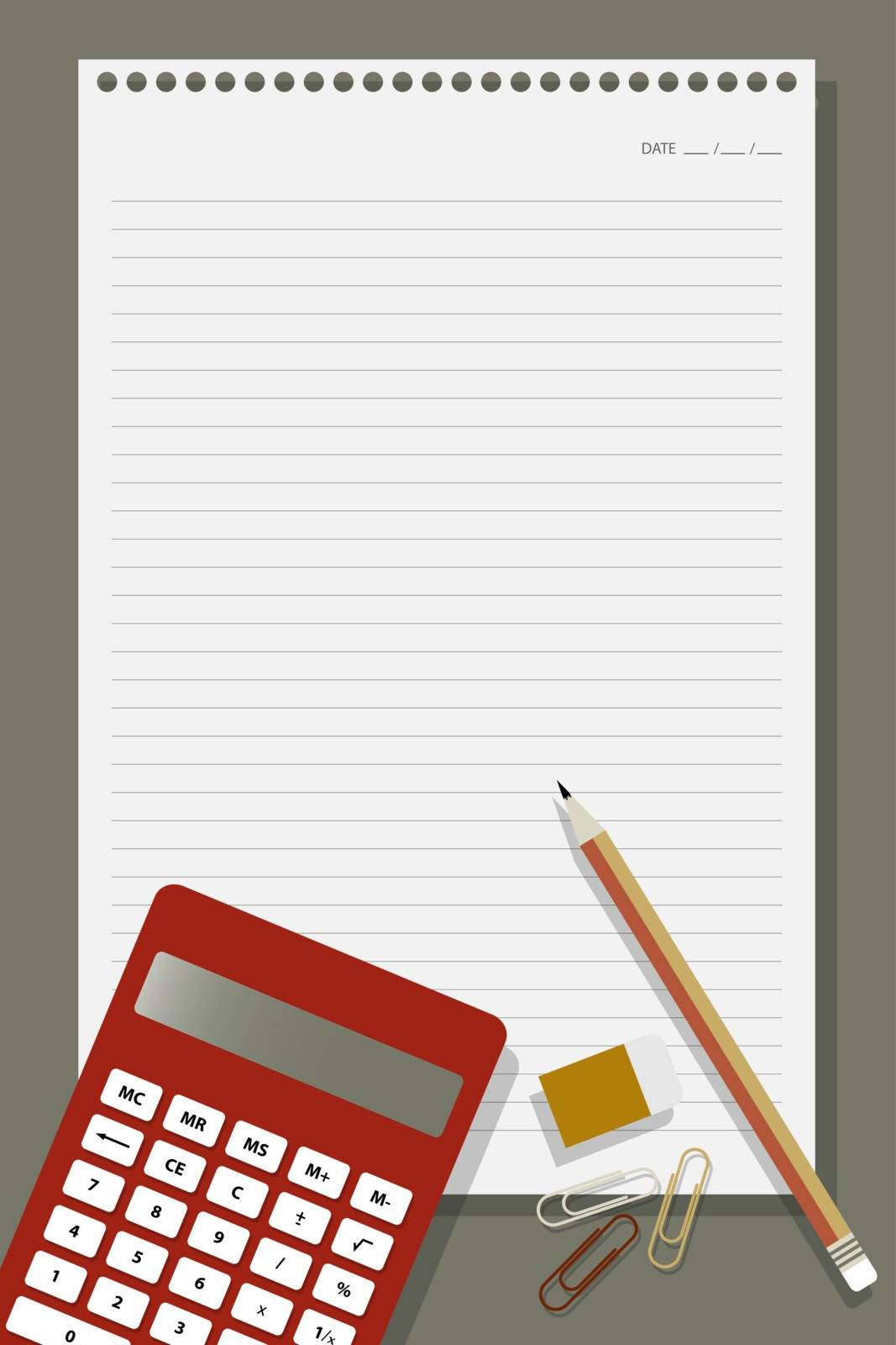 flat design for abstract shapes of office equipment