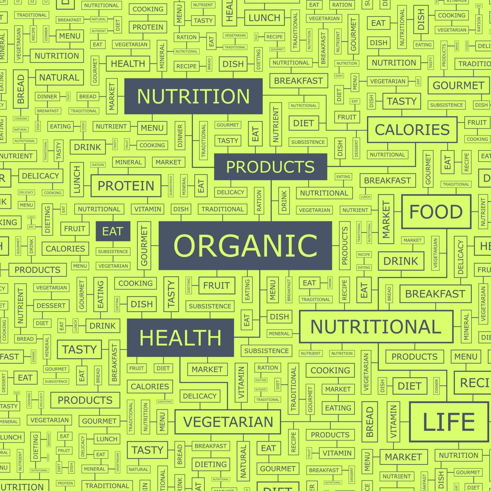 ORGANIC. Word cloud illustration. Tag cloud concept collage.