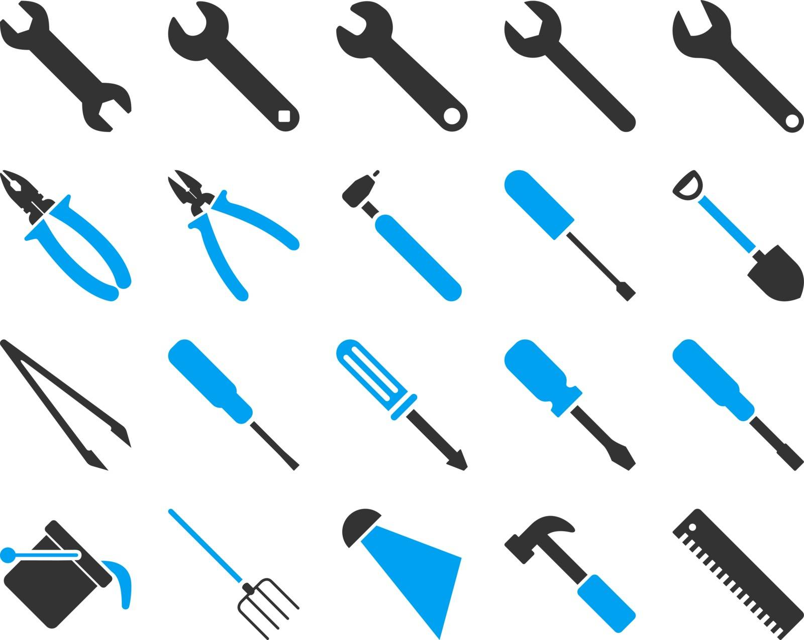 Equipment and Tools Icons. Vector set style is bicolor flat images, blue and gray colors, isolated on a white background.