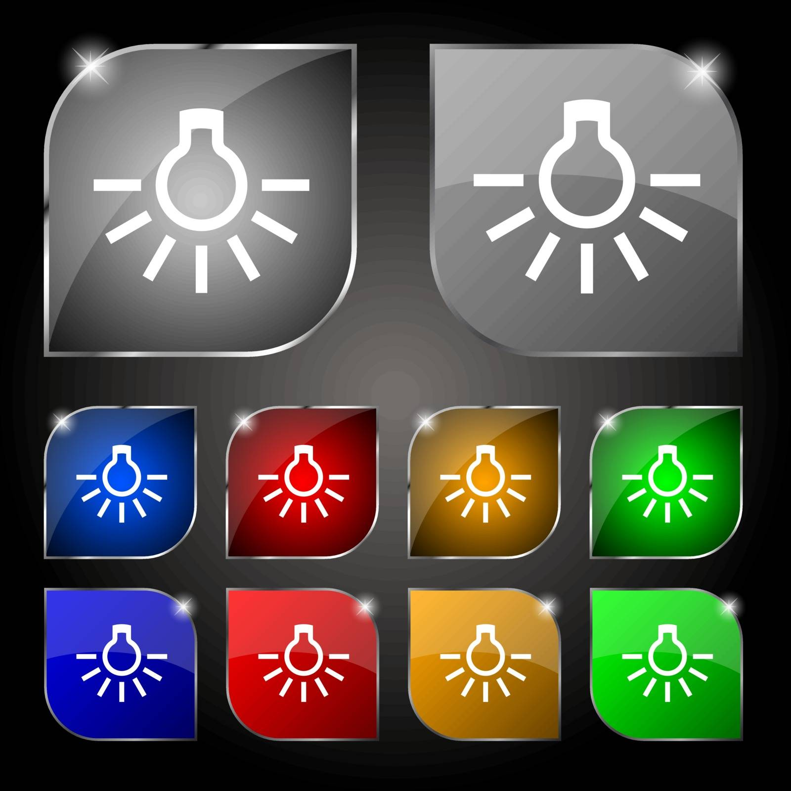 light bulb icon sign. Set of ten colorful buttons with glare. Vector illustration