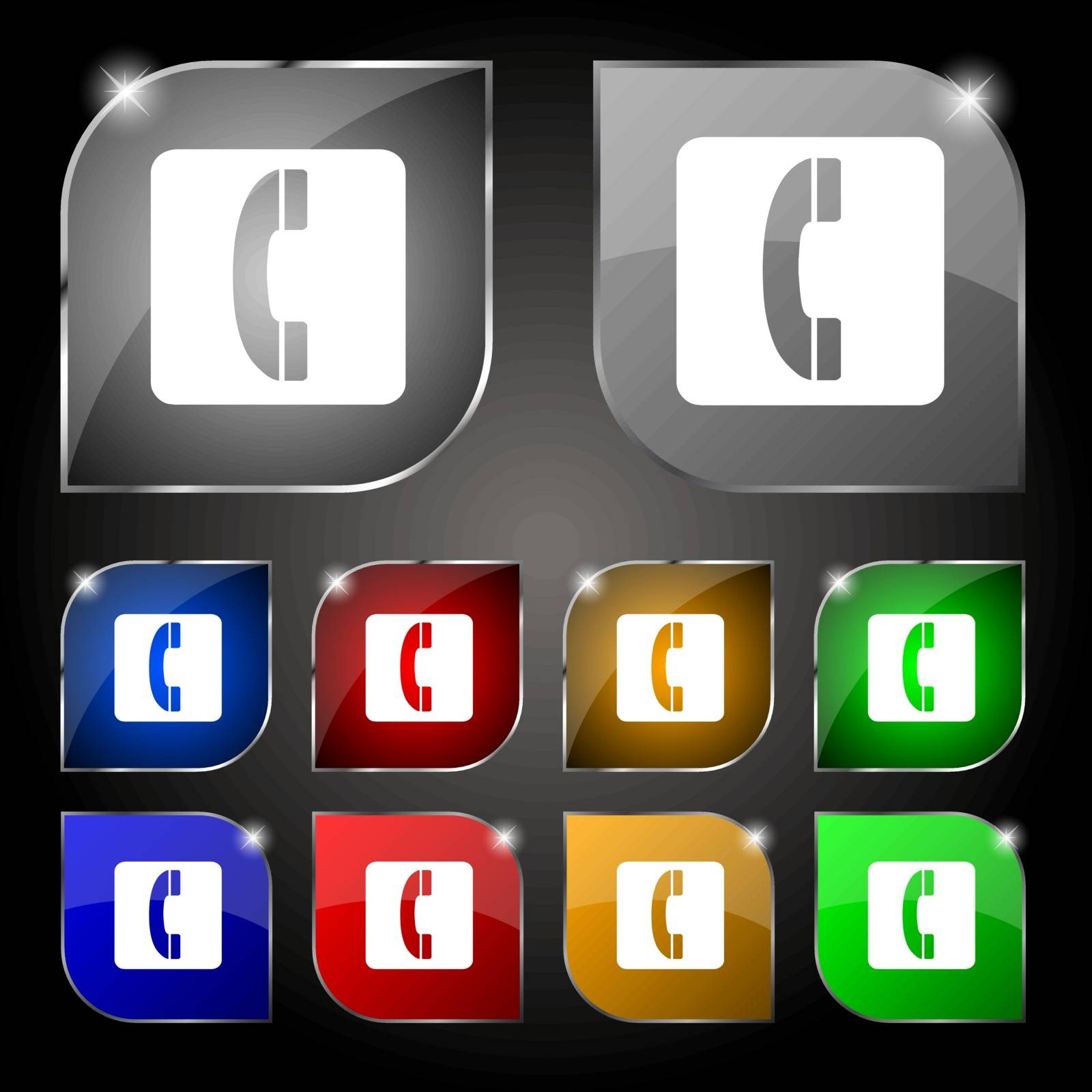handset icon sign. Set of ten colorful buttons with glare. Vector illustration