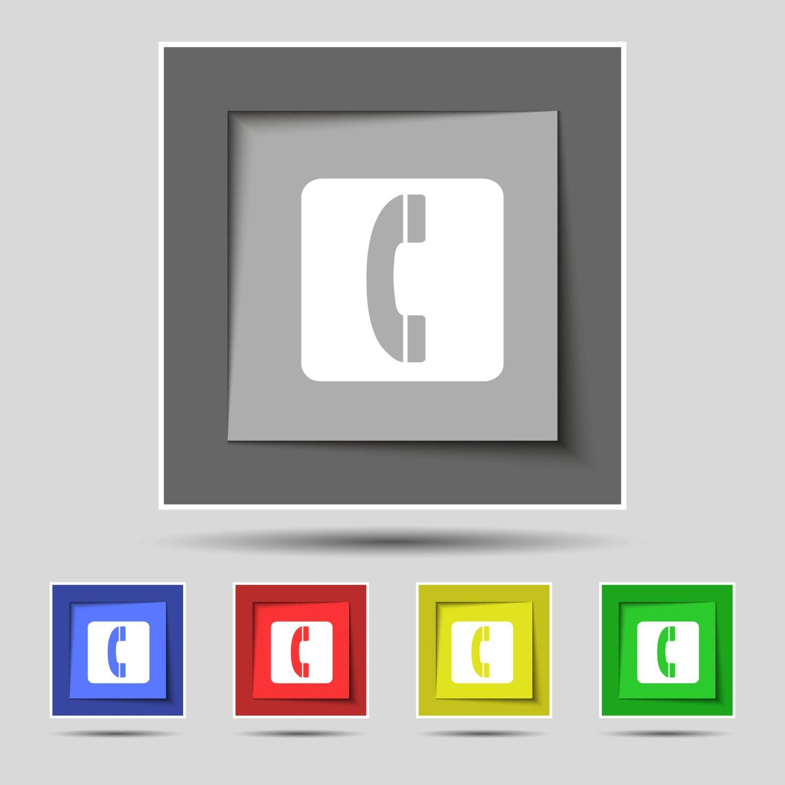 handset icon sign on original five colored buttons. Vector illustration