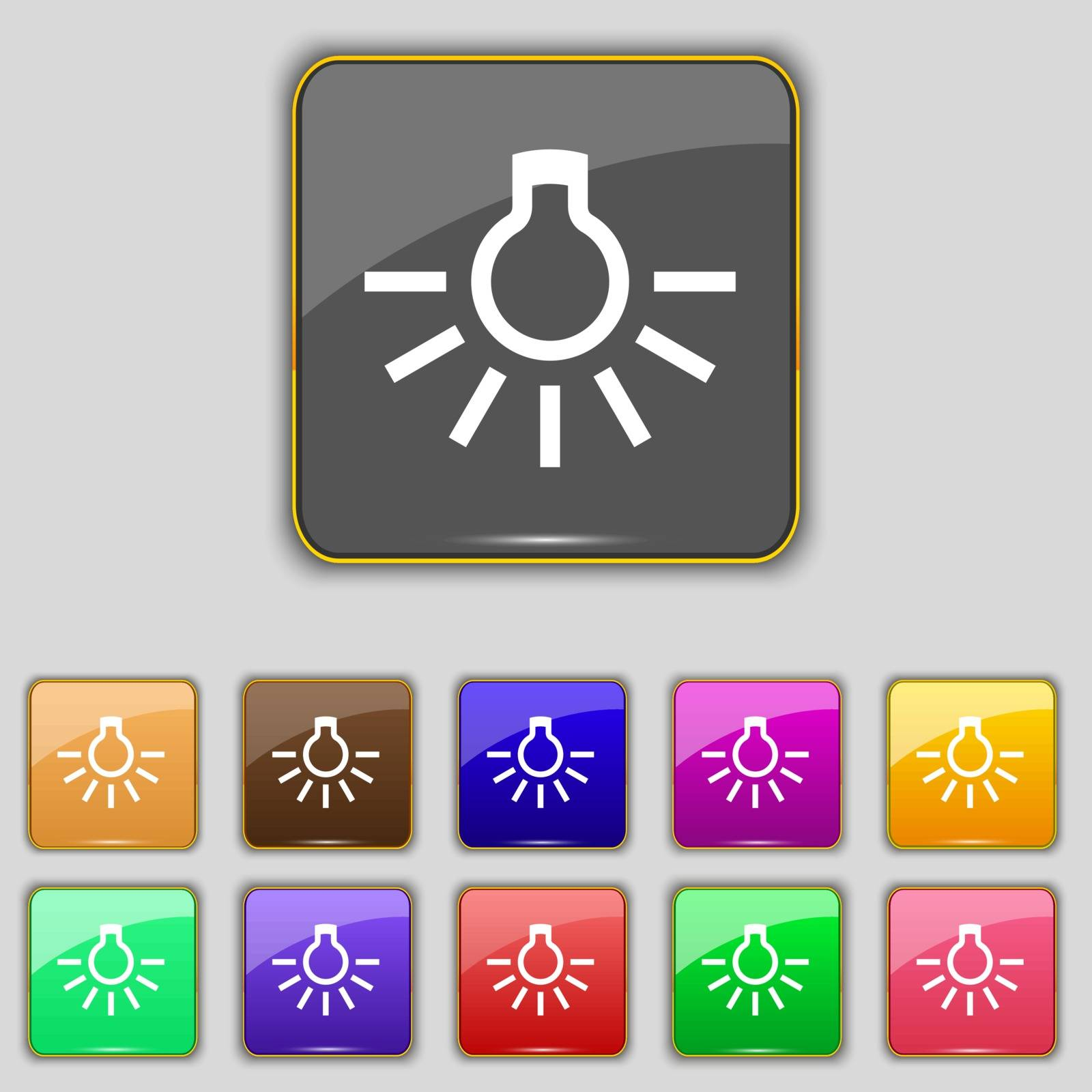 light bulb icon sign. Set with eleven colored buttons for your site. Vector illustration