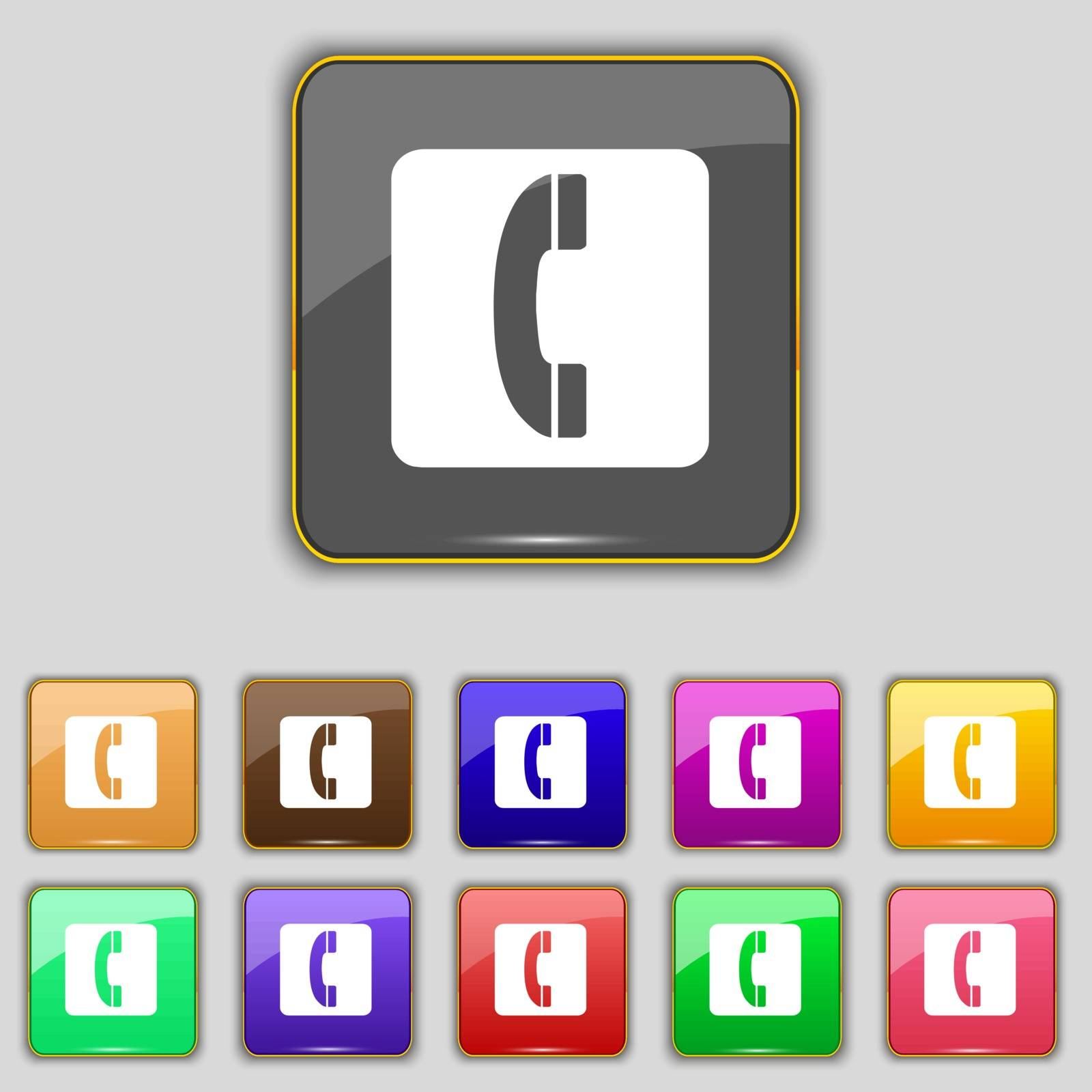 handset icon sign. Set with eleven colored buttons for your site. Vector illustration