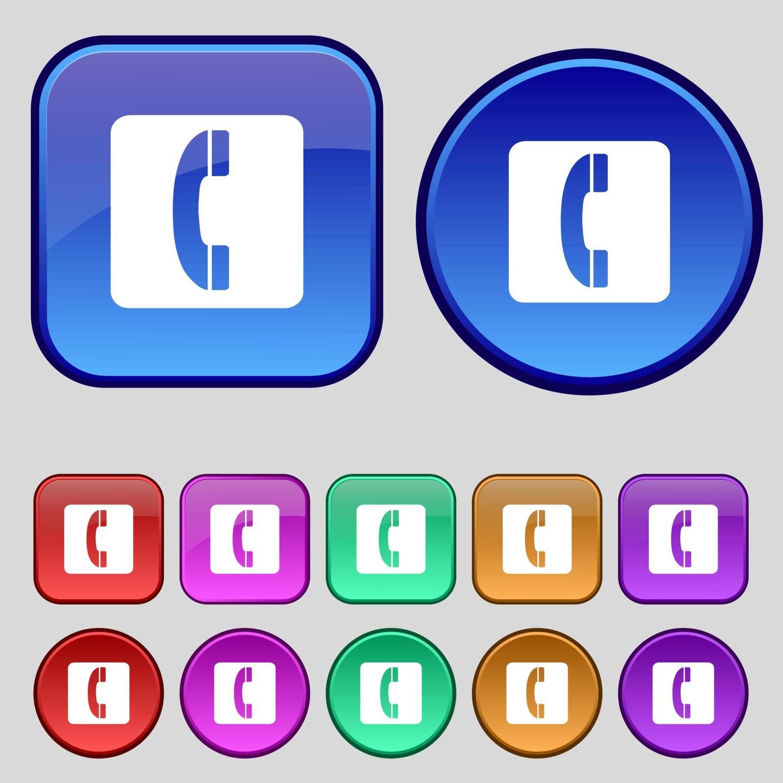 handset icon sign. A set of twelve vintage buttons for your design. Vector illustration