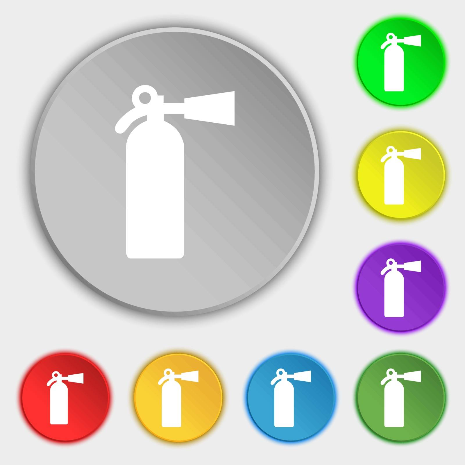 extinguisher icon sign. Symbol on five flat buttons. Vector illustration