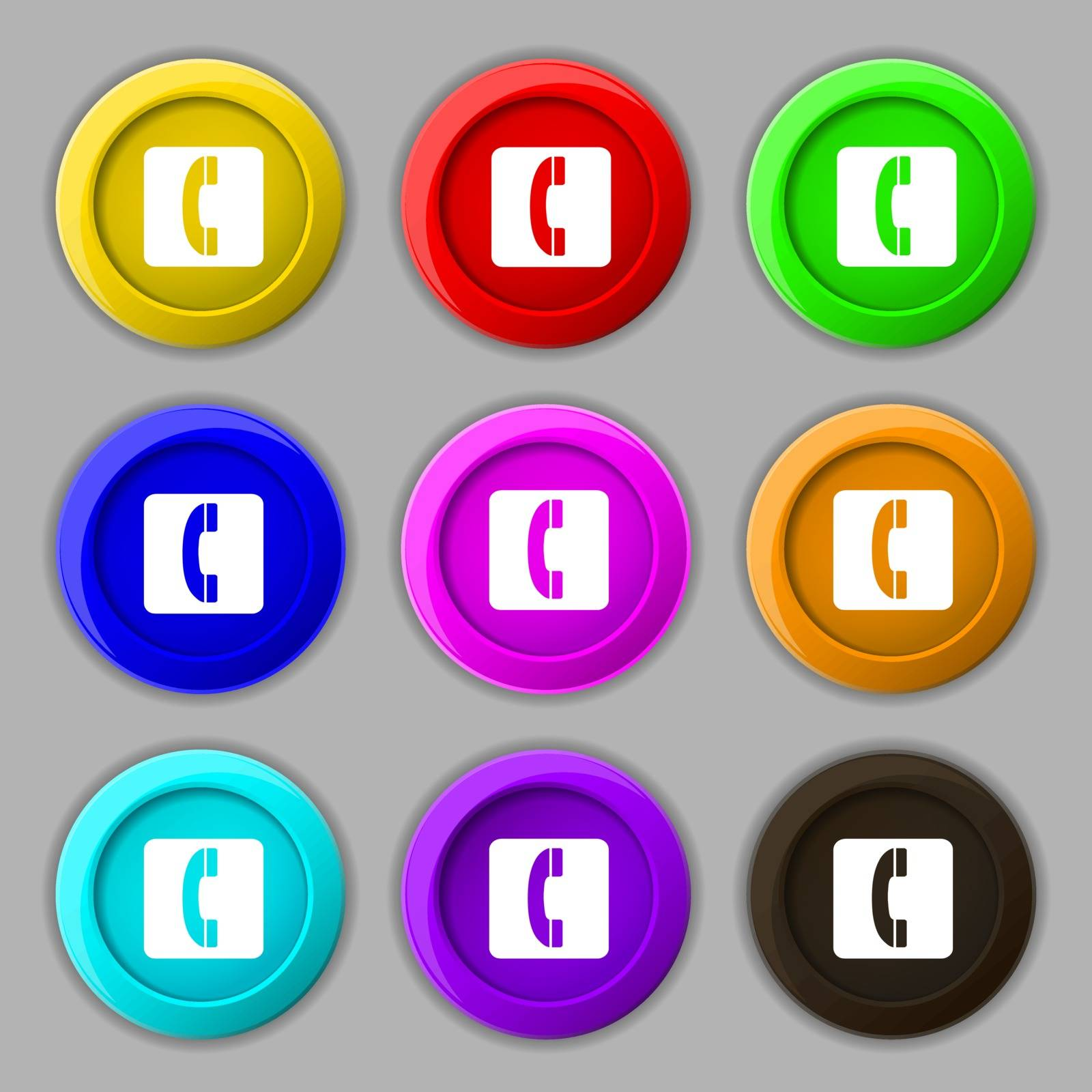 handset icon sign. symbol on nine round colourful buttons. Vector illustration