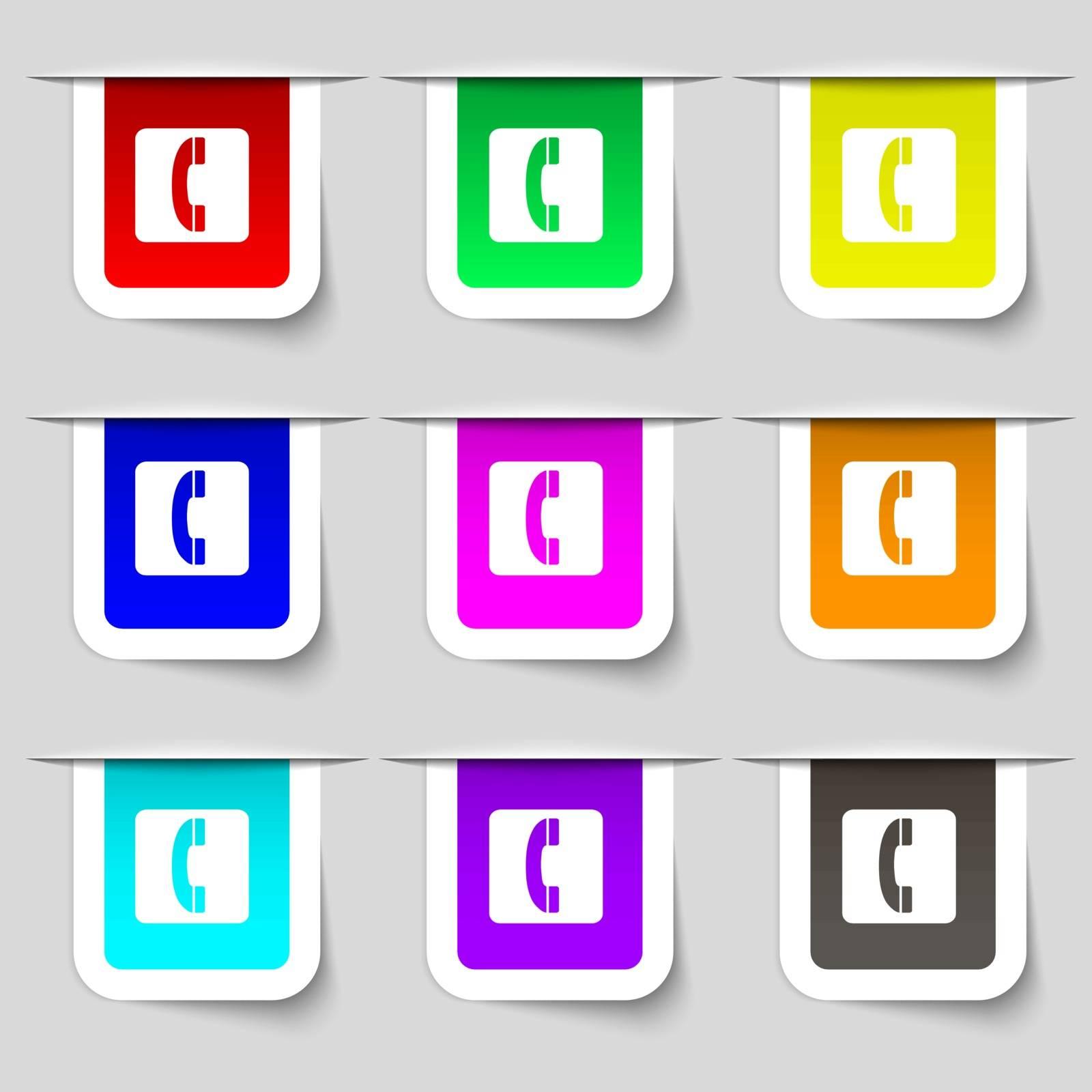 handset icon sign. Set of multicolored modern labels for your design. Vector illustration