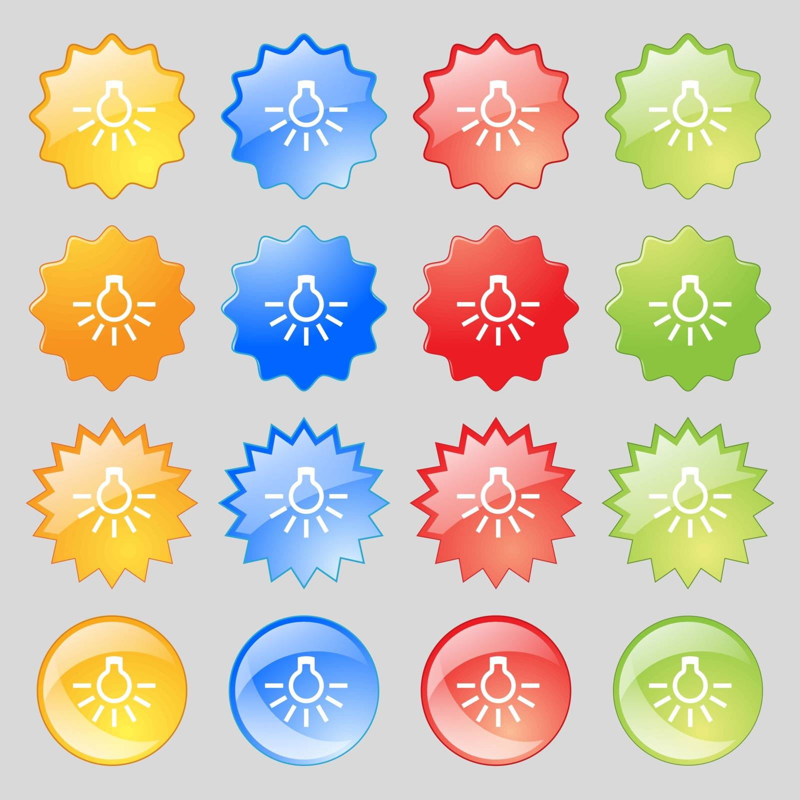 light bulb icon sign. Big set of 16 colorful modern buttons for your design. Vector illustration