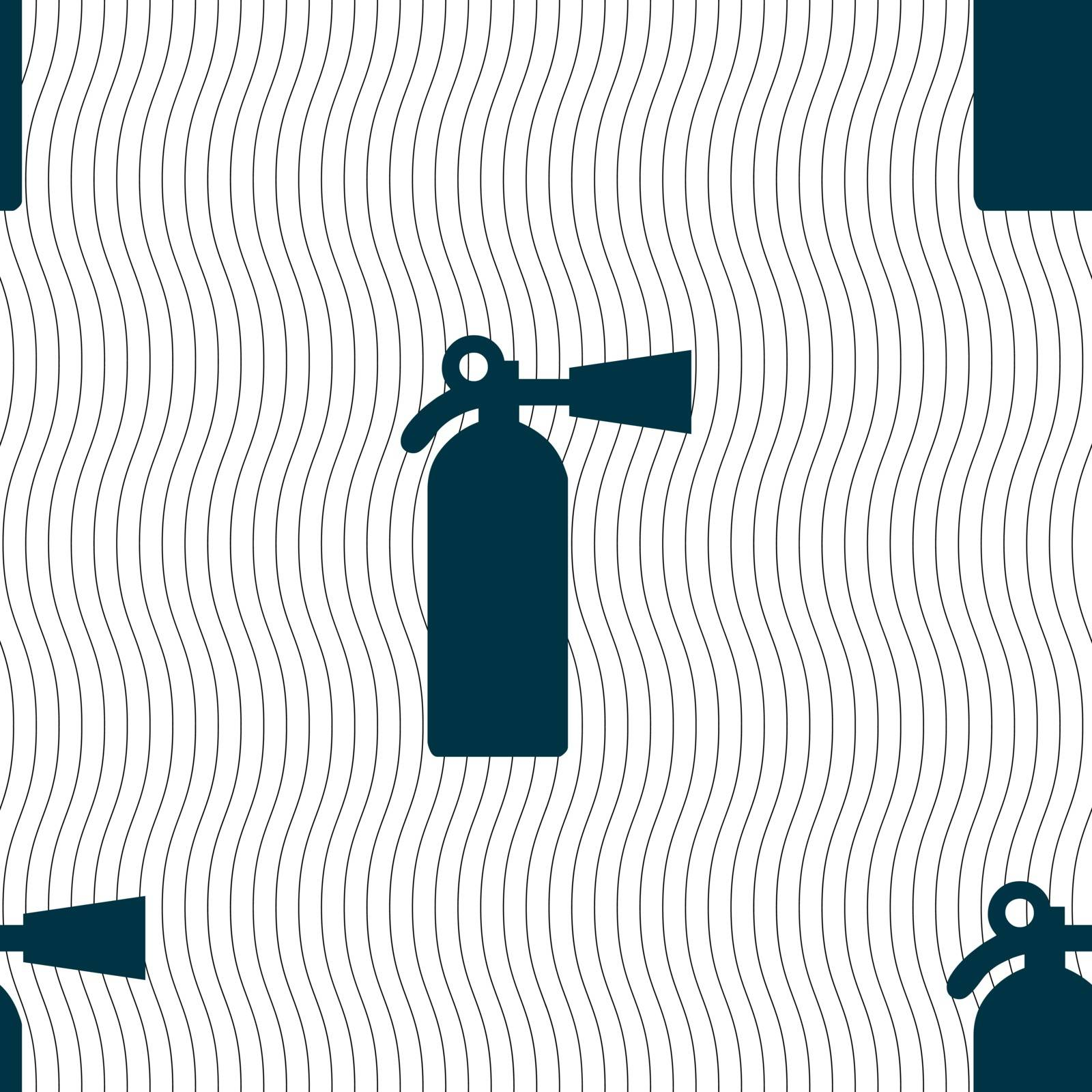 extinguisher icon sign. Seamless pattern with geometric texture. Vector illustration