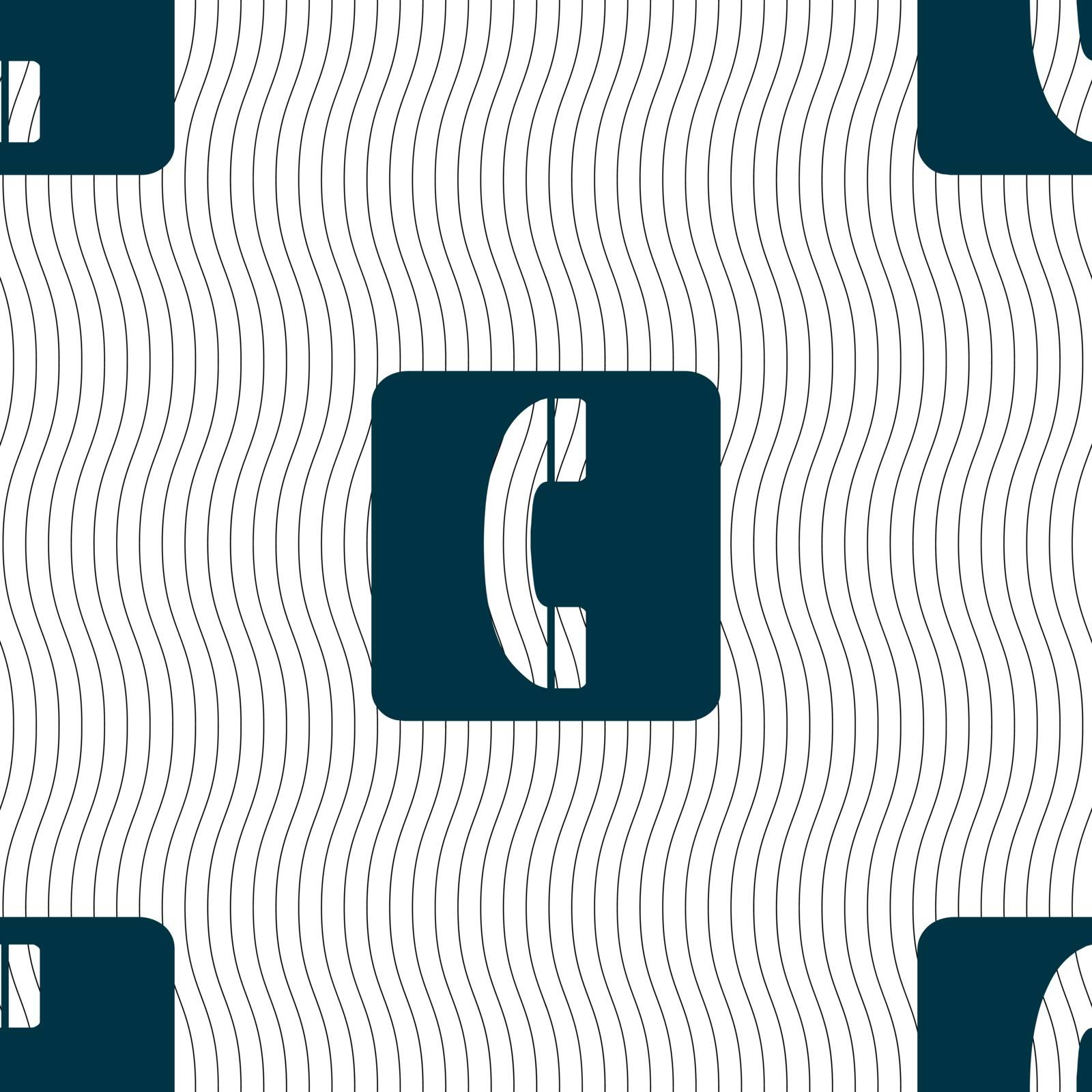 handset icon sign. Seamless pattern with geometric texture. Vector illustration