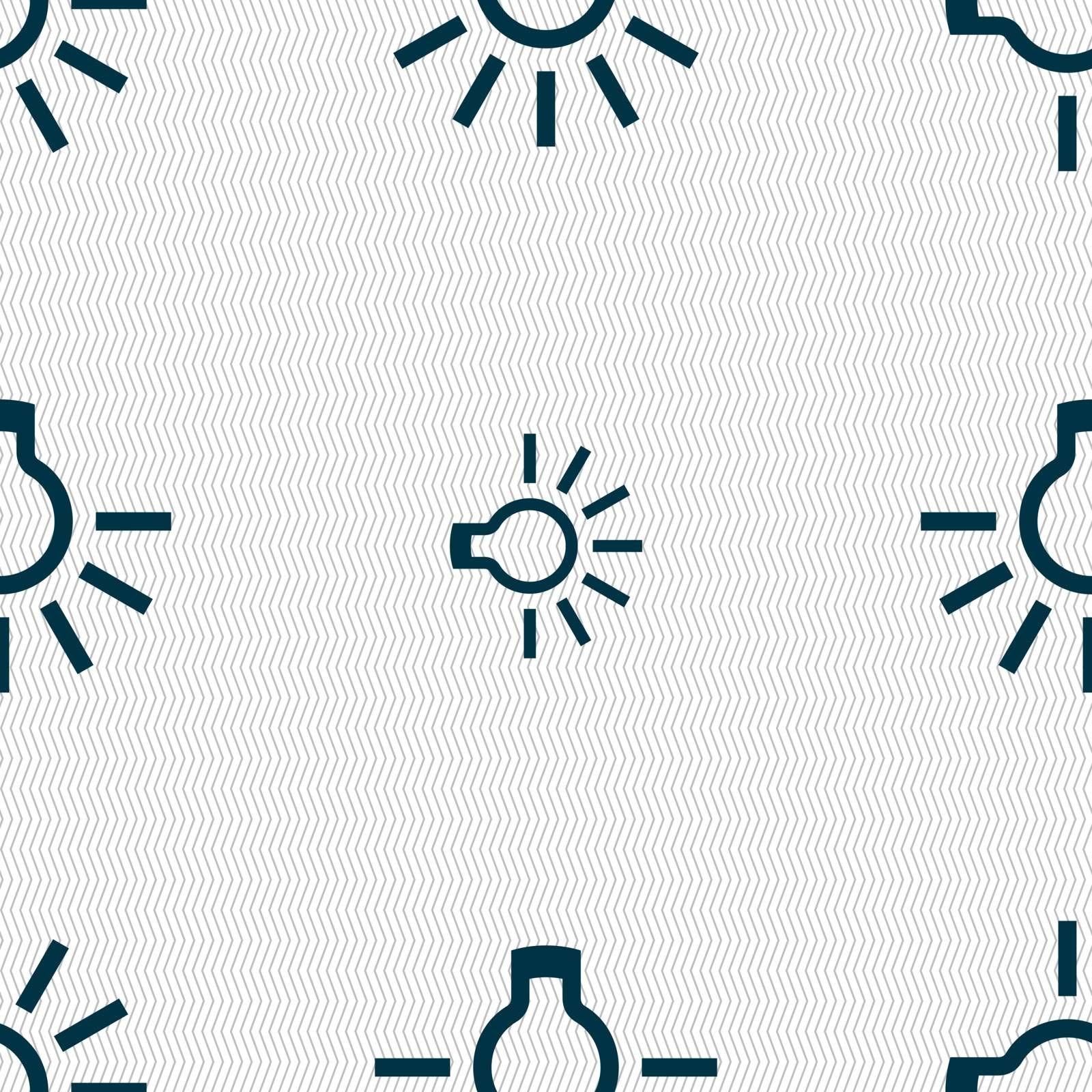 light bulb icon sign. Seamless pattern with geometric texture. Vector illustration