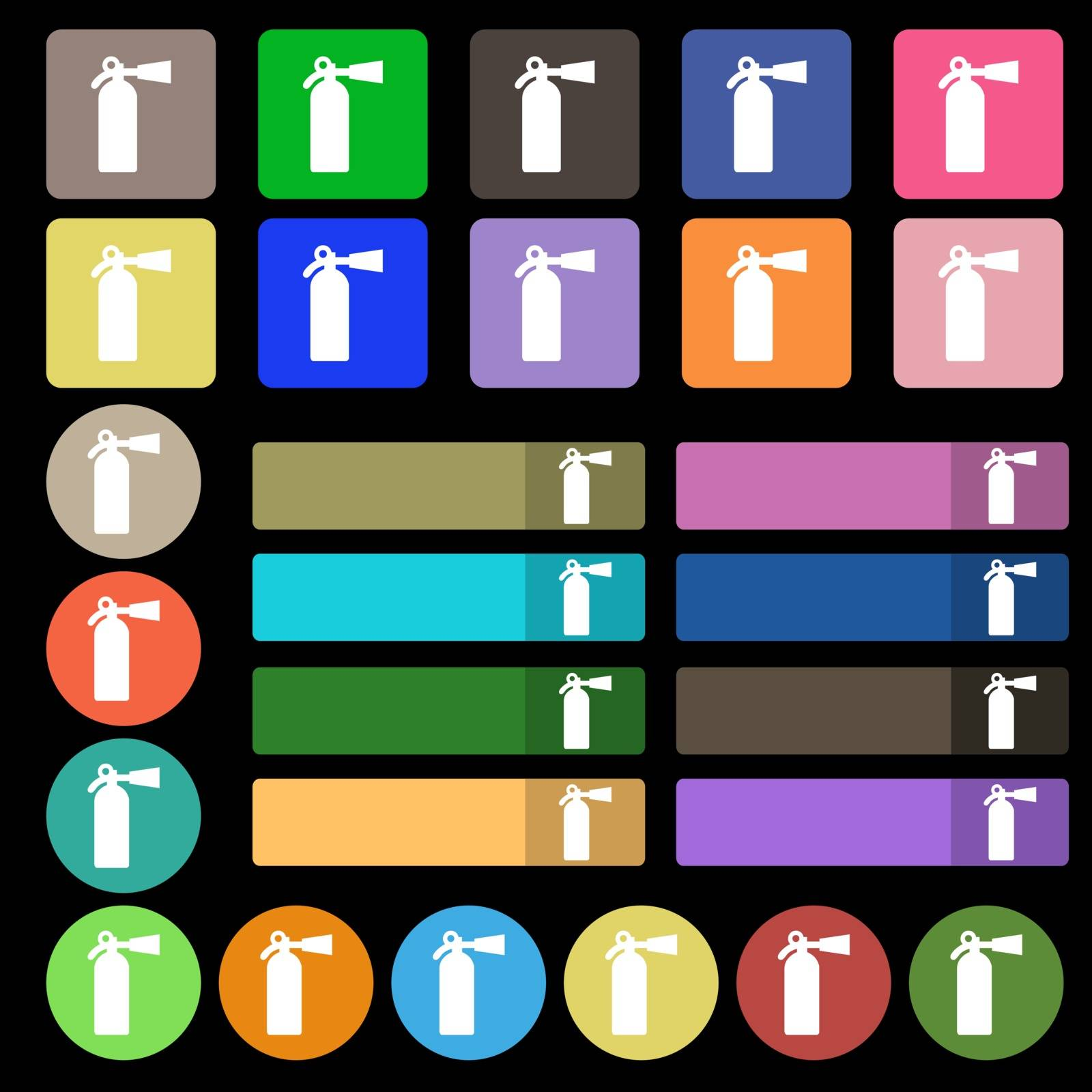 extinguisher icon sign. Set from twenty seven multicolored flat buttons. Vector illustration