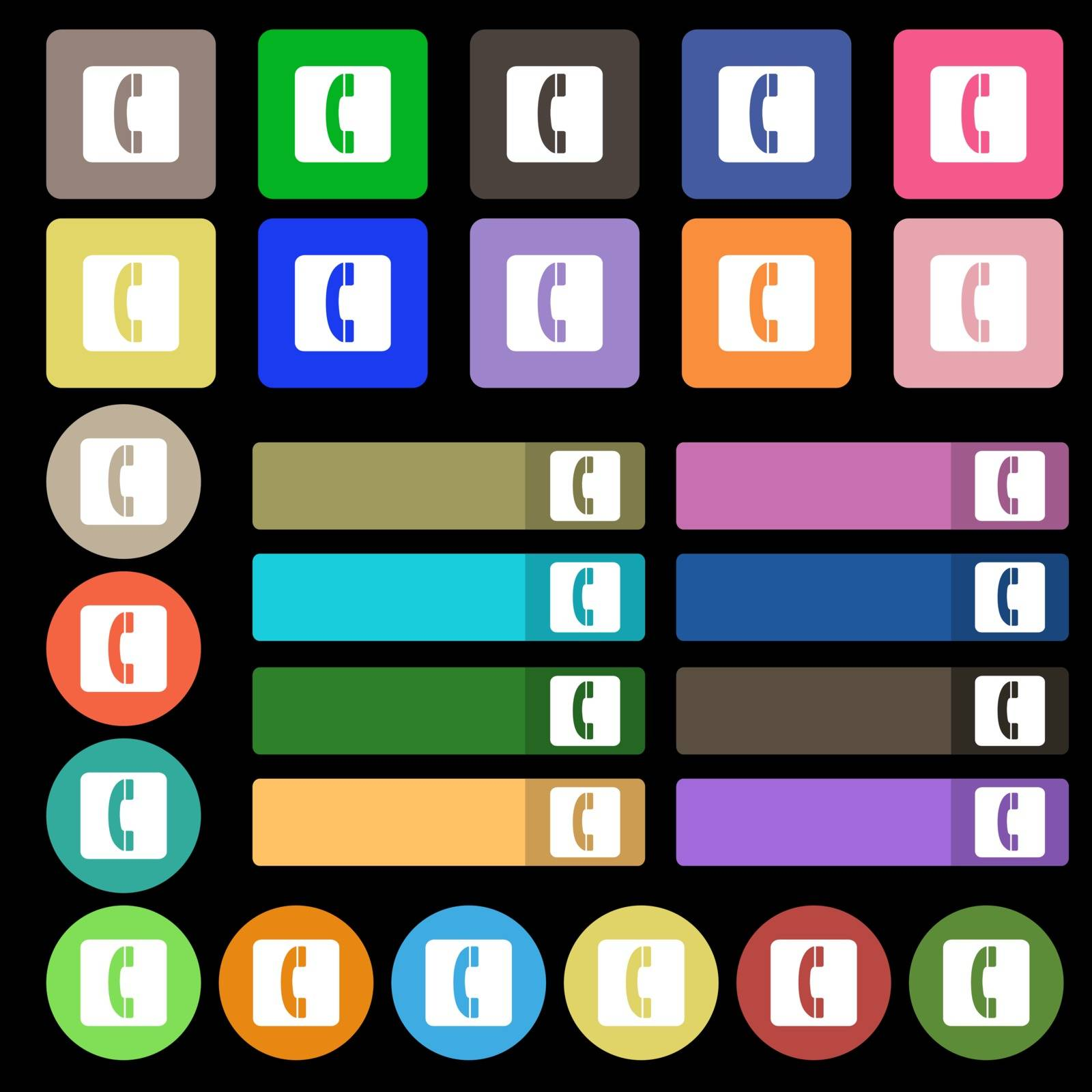 handset icon sign. Set from twenty seven multicolored flat buttons. Vector illustration