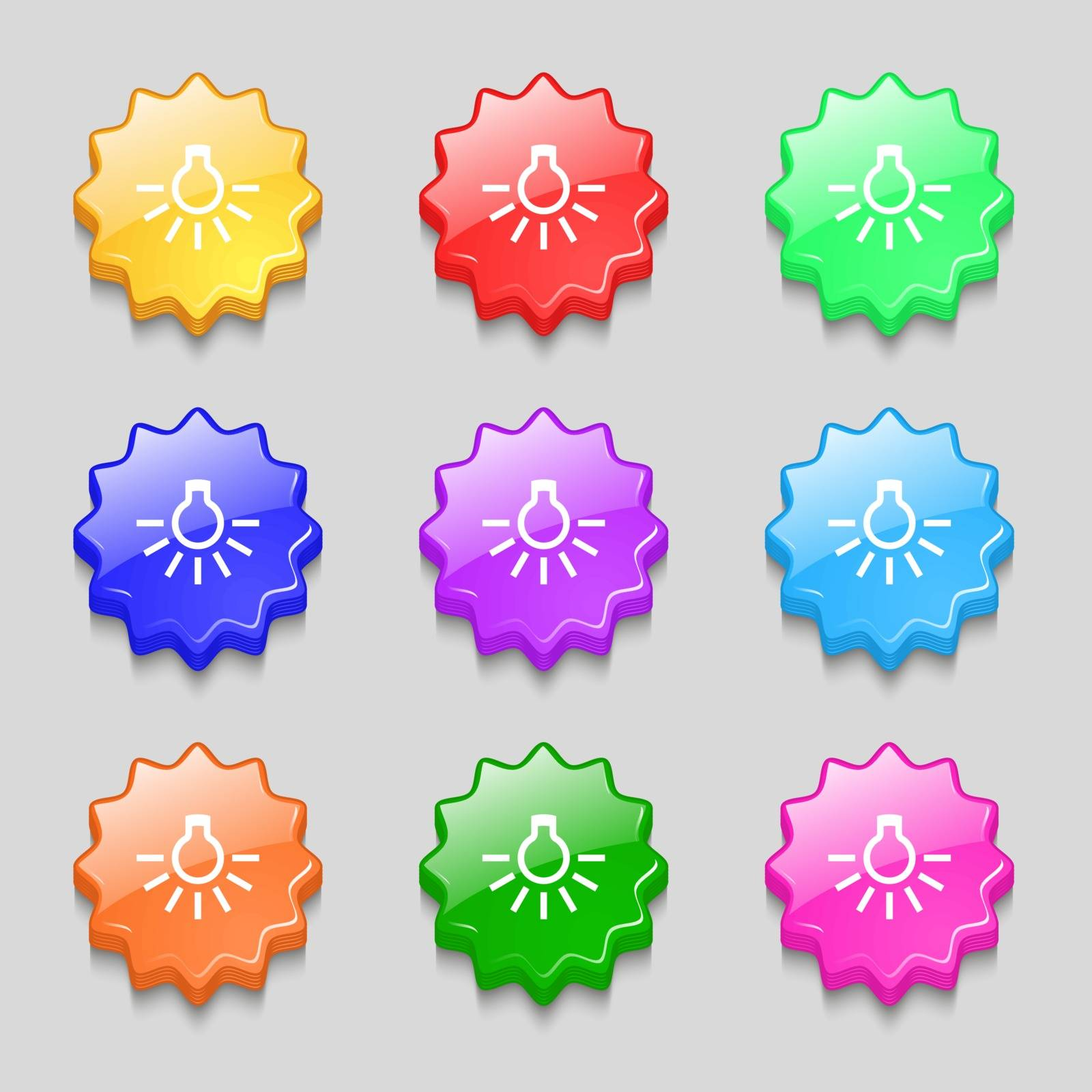 light bulb icon sign. symbol on nine wavy colourful buttons. Vector illustration