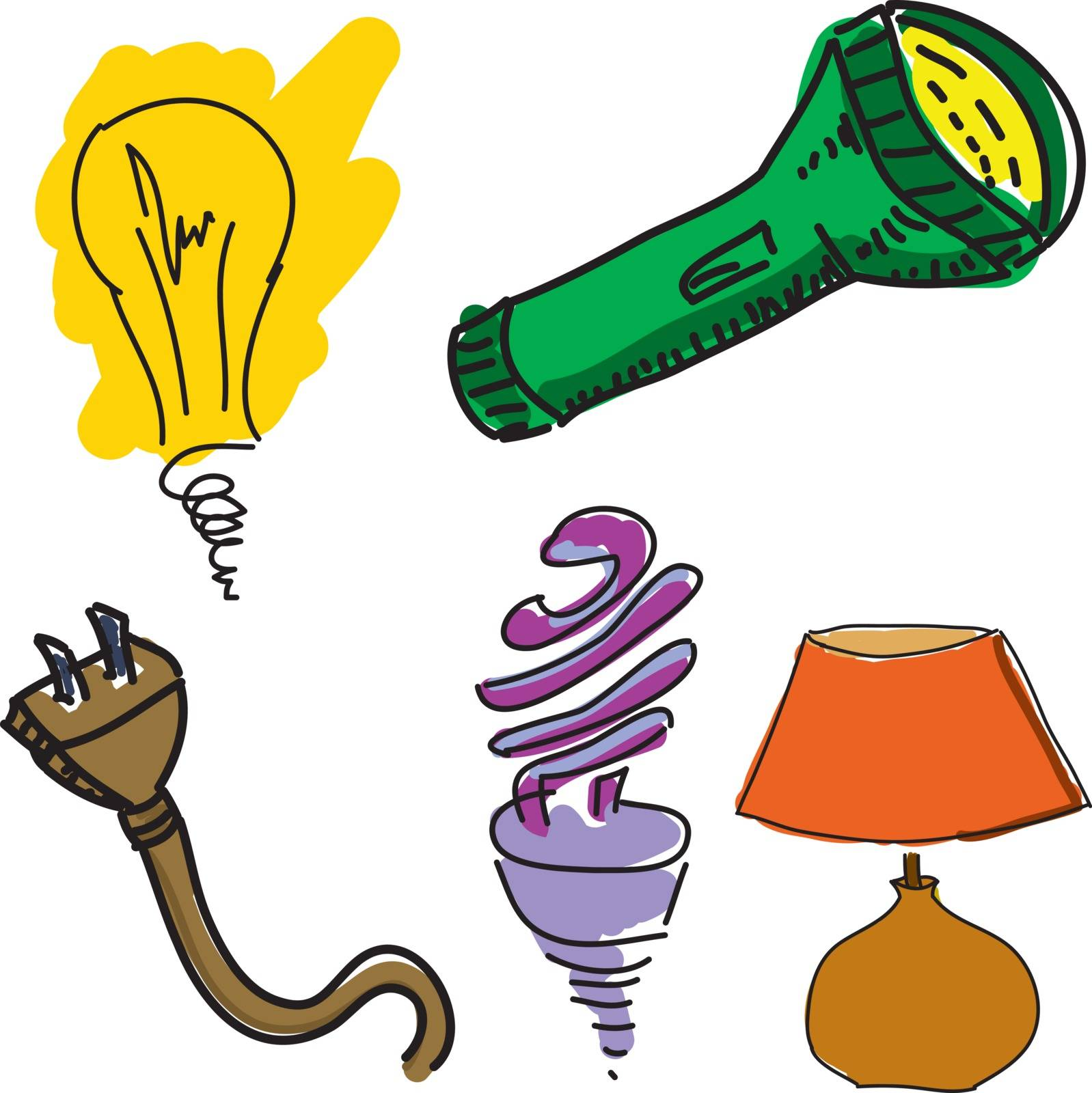 Drawn light equipment on white background, close-up view. Vector illustration