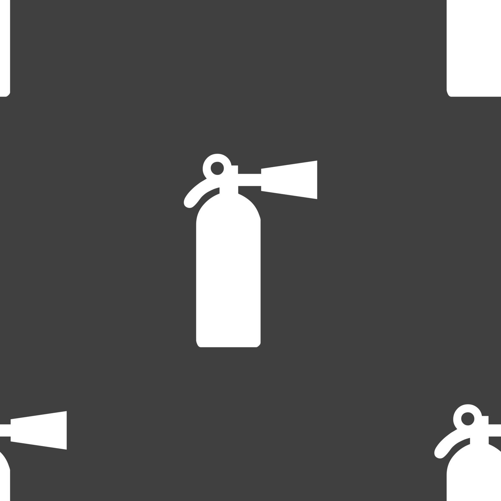extinguisher icon sign. Seamless pattern on a gray background. Vector illustration