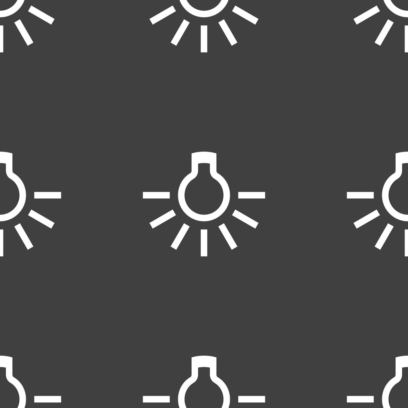 light bulb icon sign. Seamless pattern on a gray background. Vector illustration