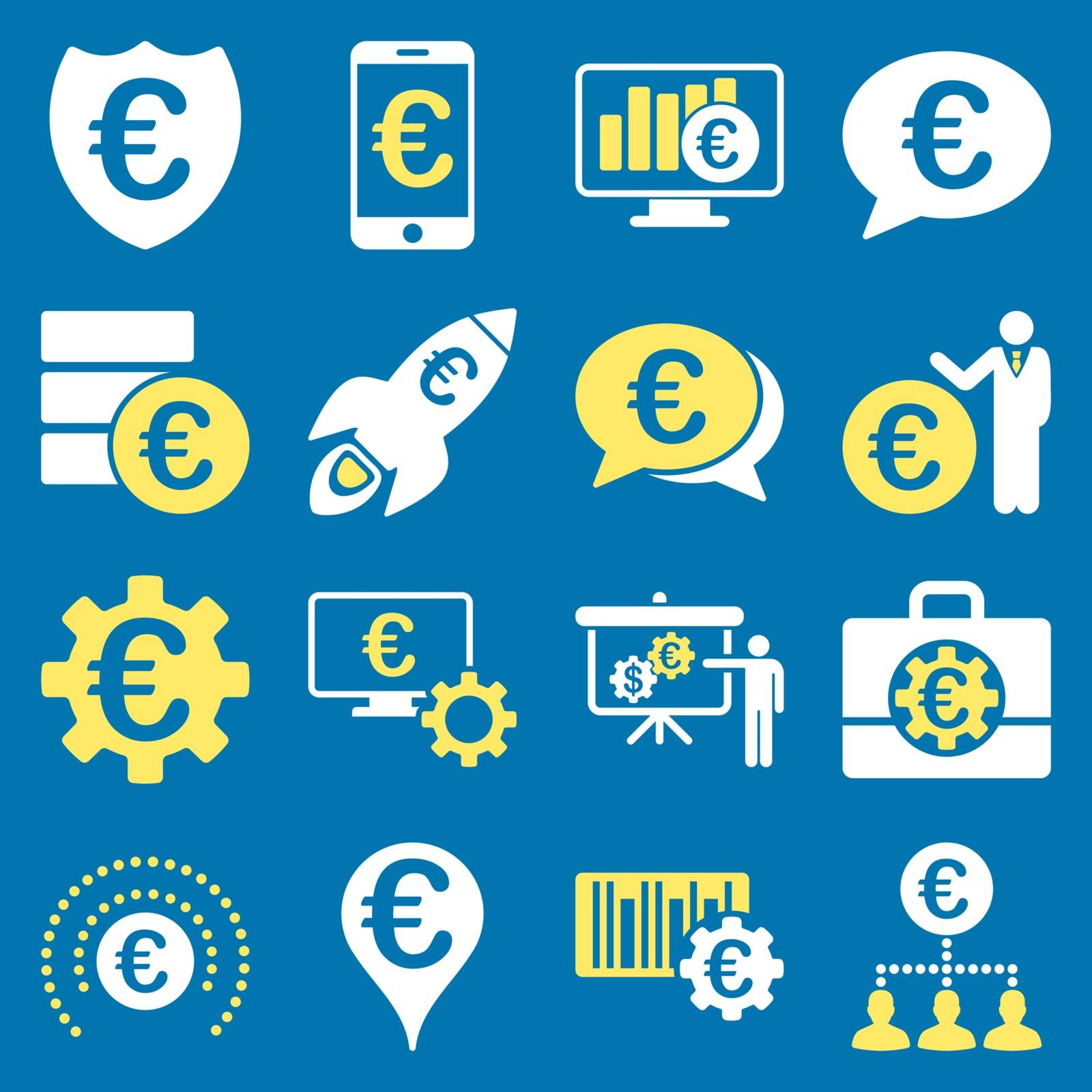 Euro banking business and service tools icons. These flat bicolor icons use yellow and white. Images are isolated on a blue background. Angles are rounded.