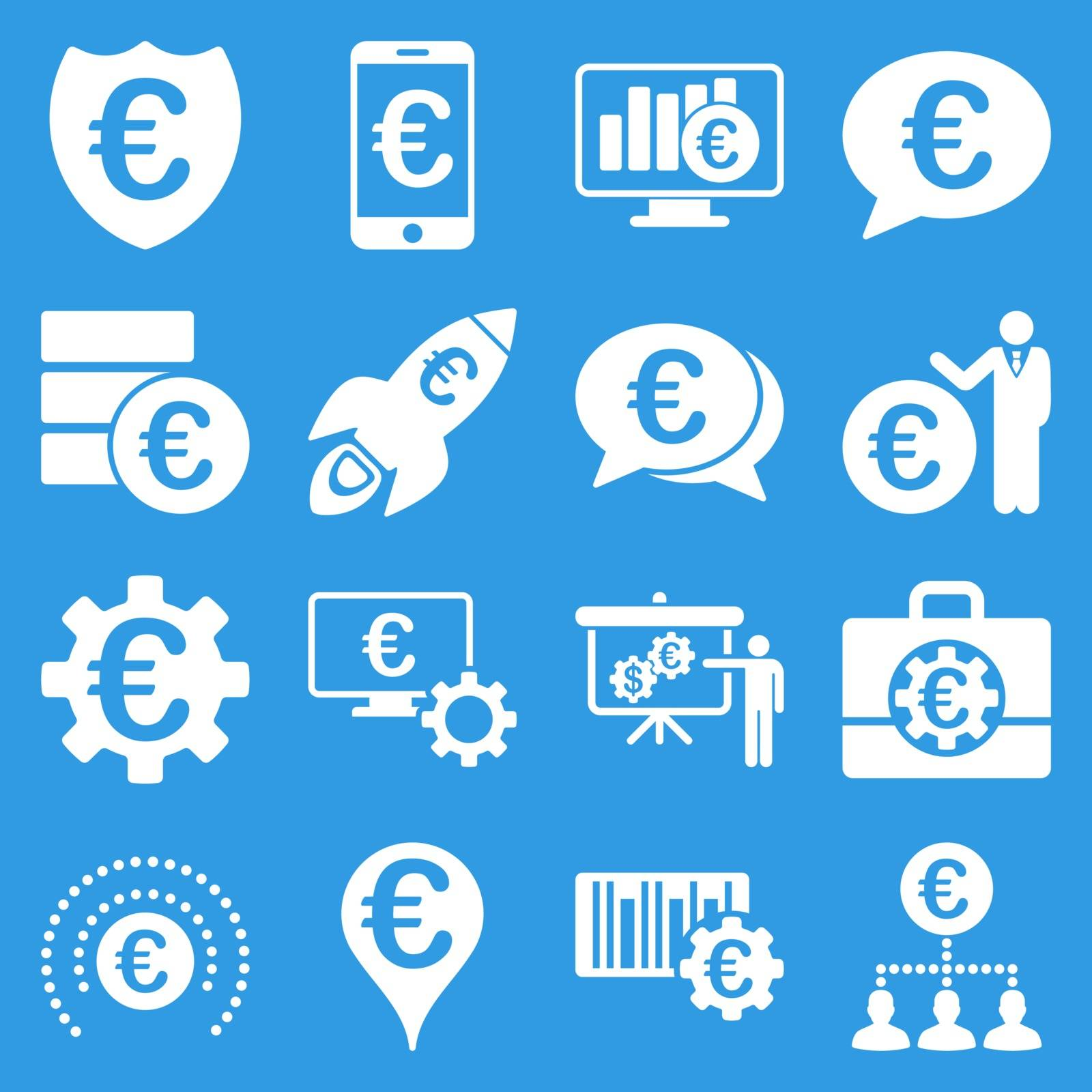 Euro banking business and service tools icons. These flat icons use white. Images are isolated on a blue background. Angles are rounded.