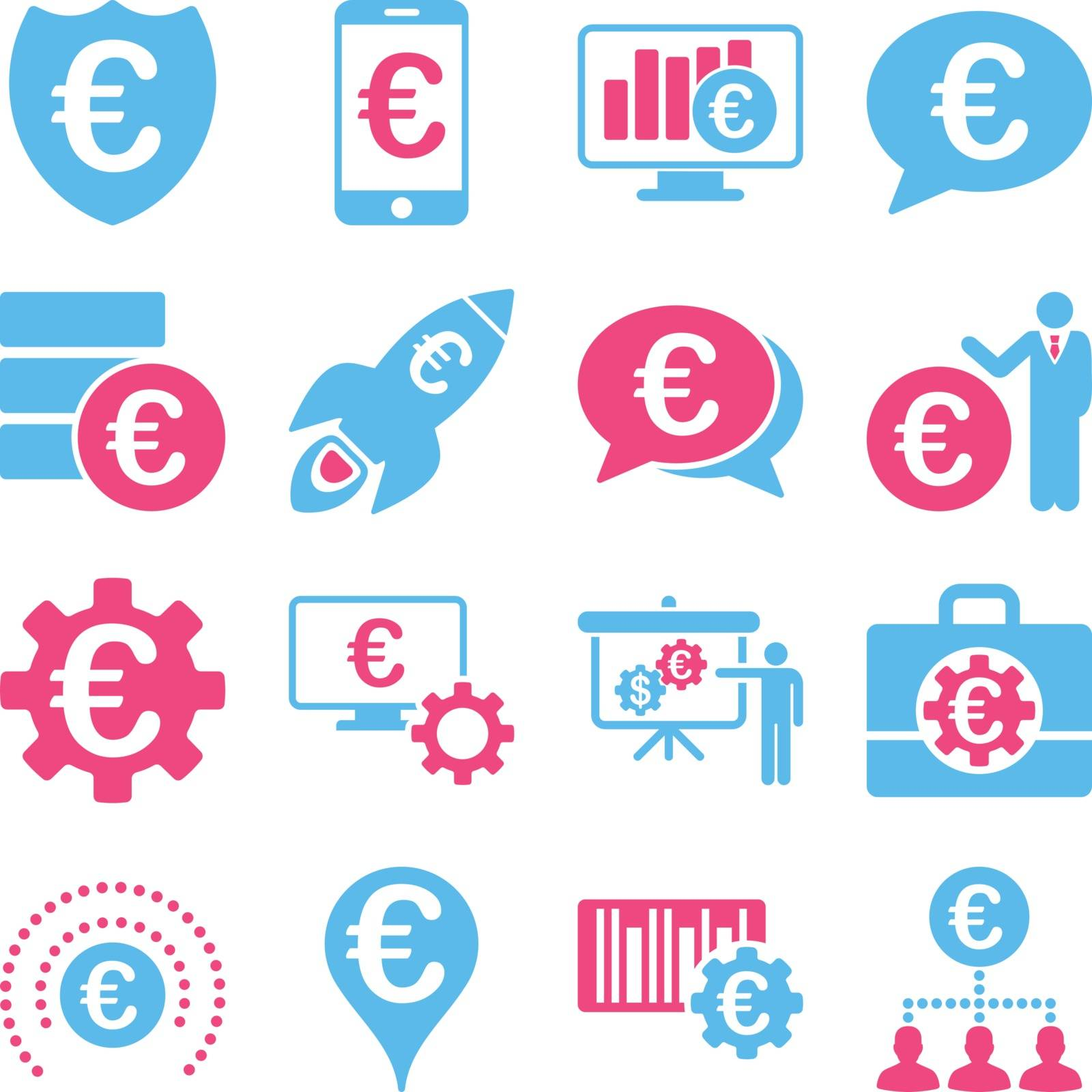 Euro banking business and service tools icons. These flat bicolor icons use pink and blue. Images are isolated on a white background. Angles are rounded.