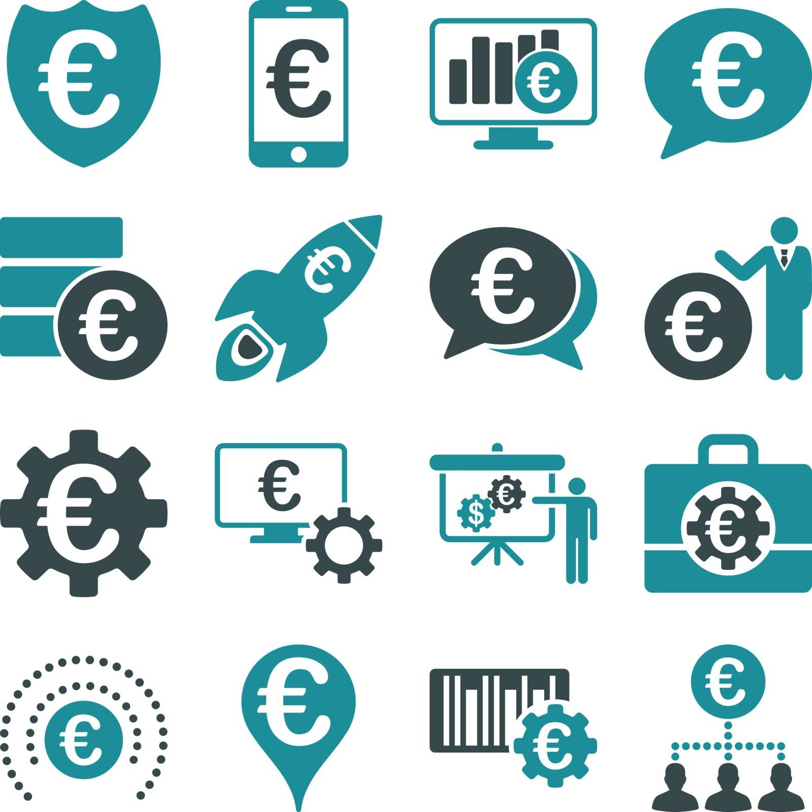 Euro banking business and service tools icons. These flat bicolor icons use soft blue. Images are isolated on a white background. Angles are rounded.