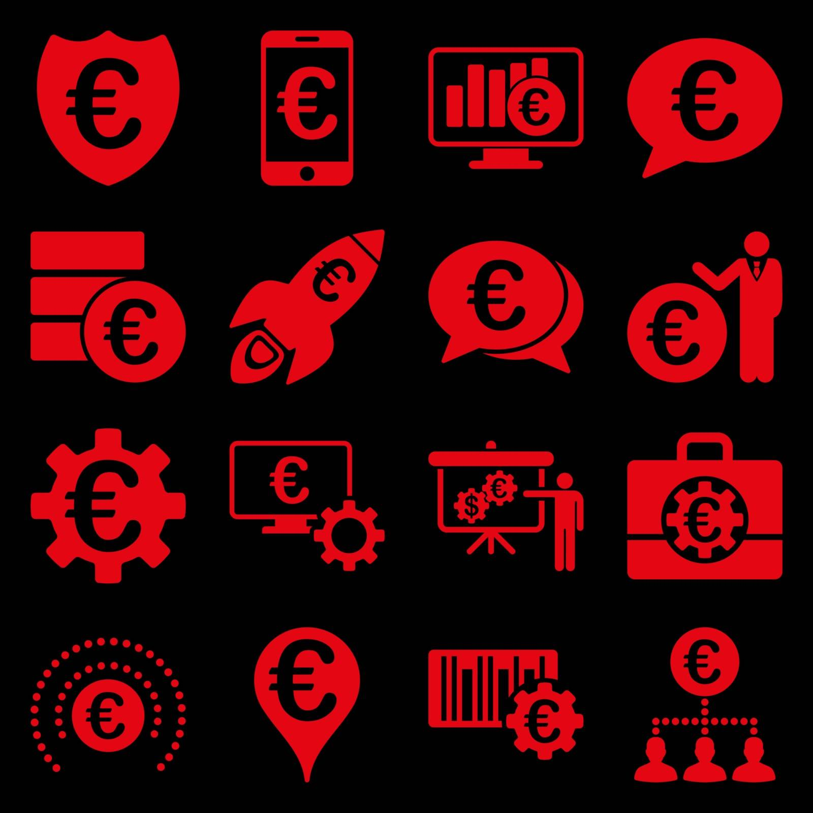 Euro banking business and service tools icons. These flat icons use red color. Images are isolated on a black background. Angles are rounded.