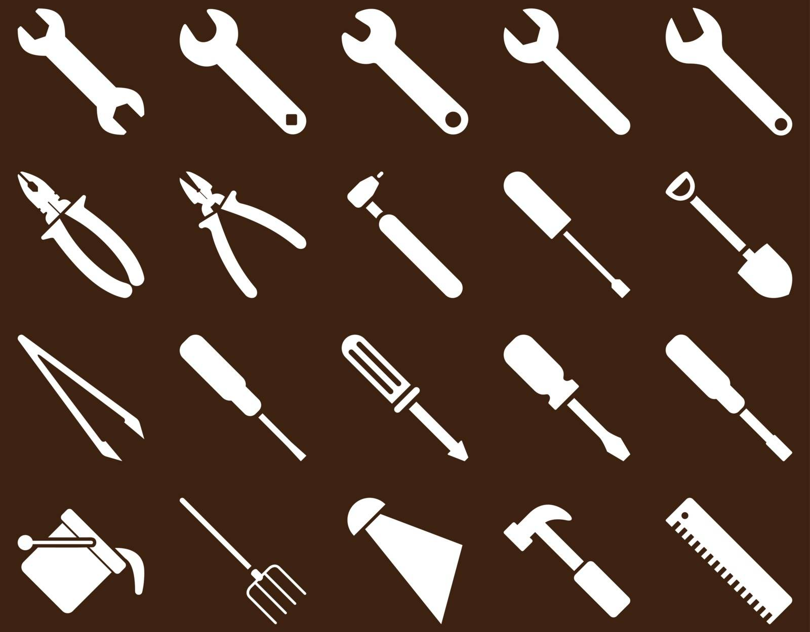 Equipment and Tools Icons. Vector set style is flat images, white color, isolated on a brown background.