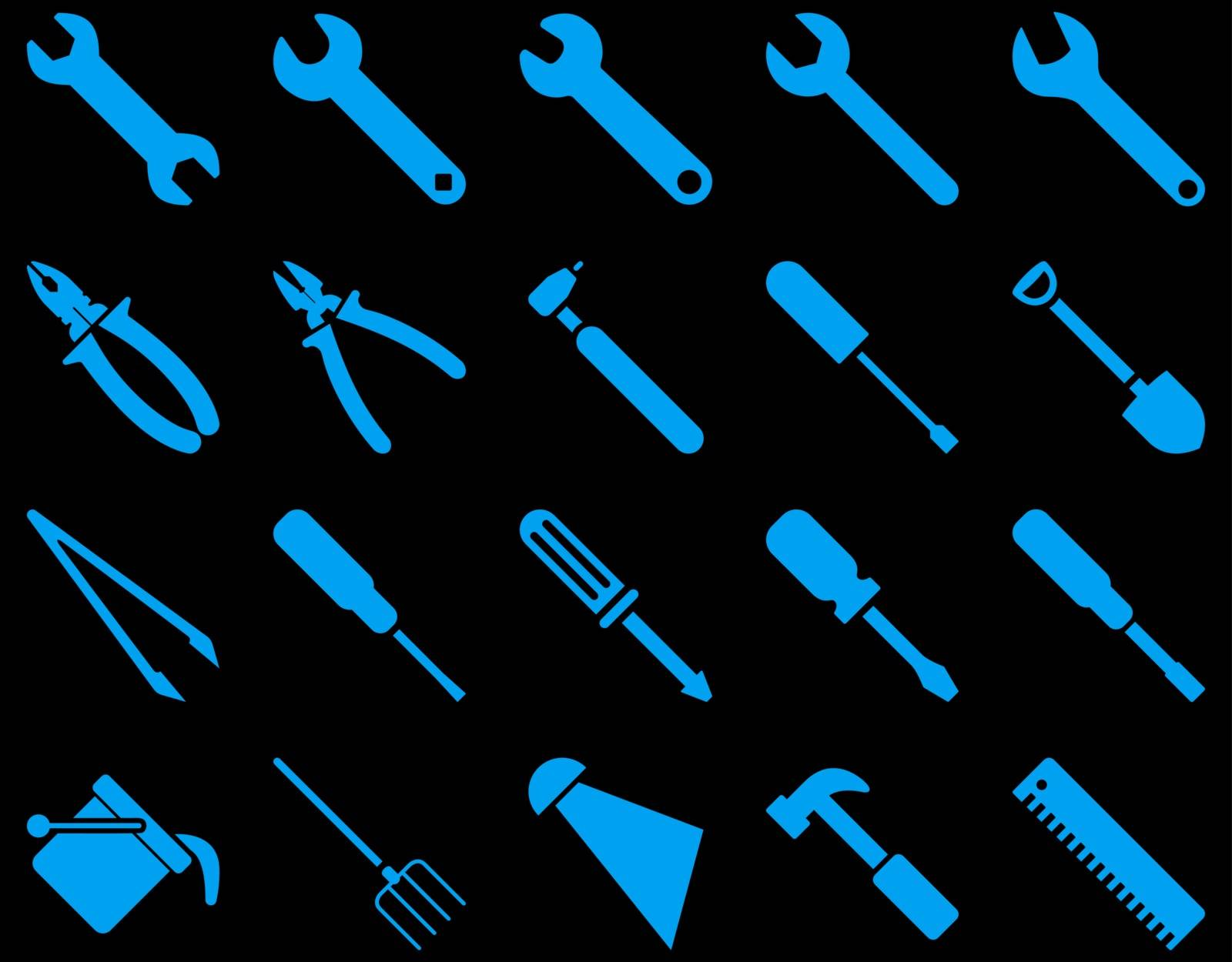 Equipment and Tools Icons. Vector set style is flat images, blue color, isolated on a black background.