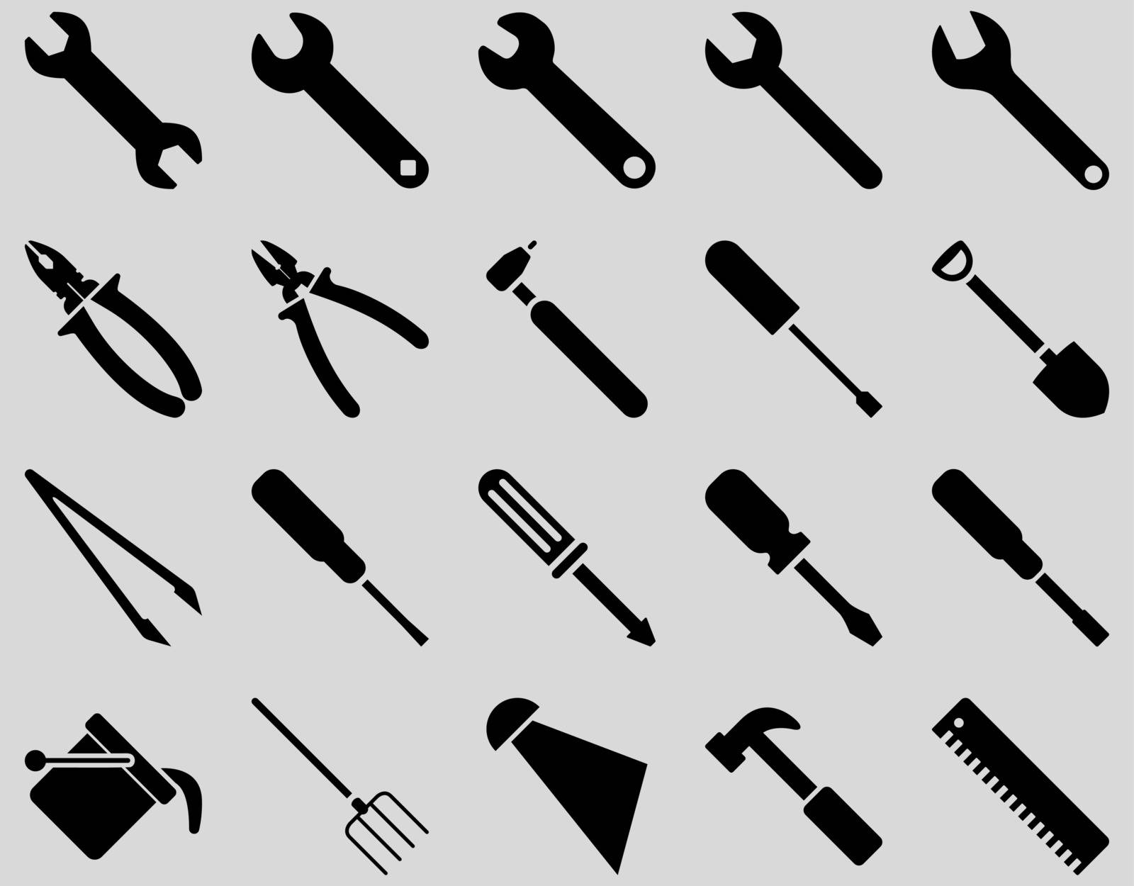 Equipment and Tools Icons. Vector set style is flat images, black color, isolated on a light gray background.