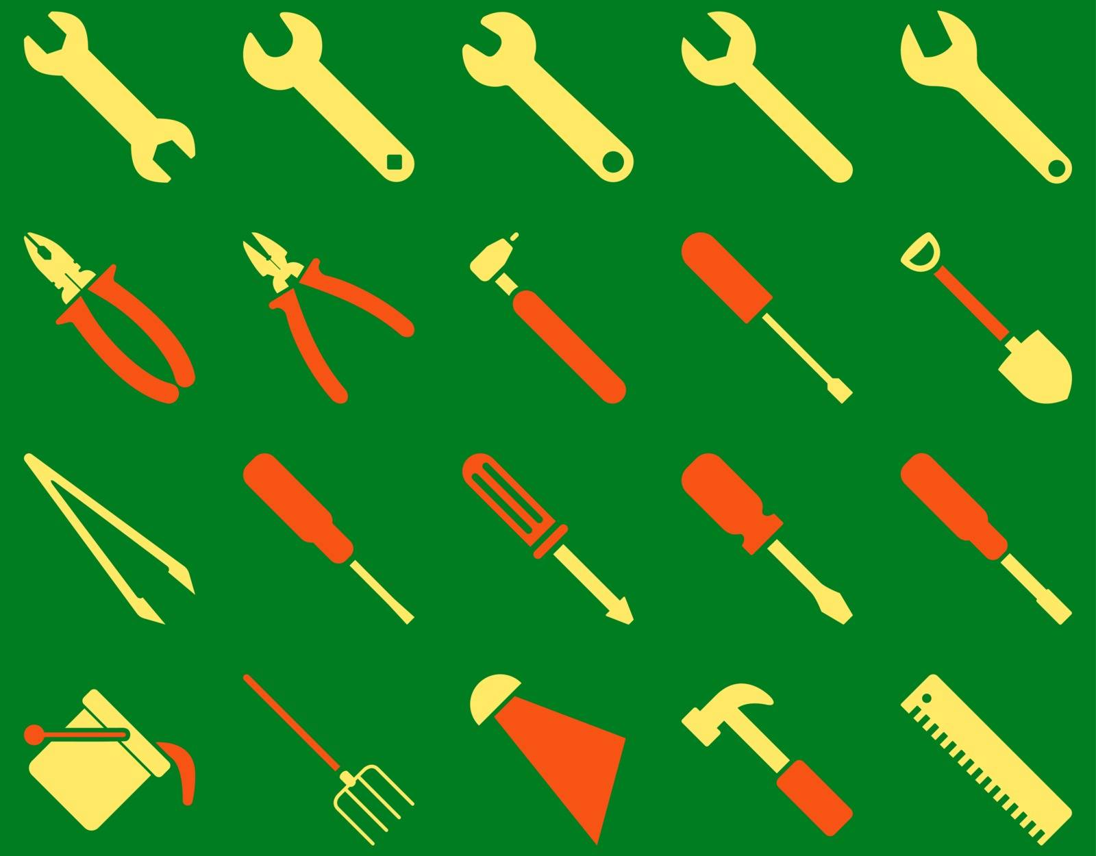 Equipment and Tools Icons. Vector set style is bicolor flat images, orange and yellow colors, isolated on a green background.