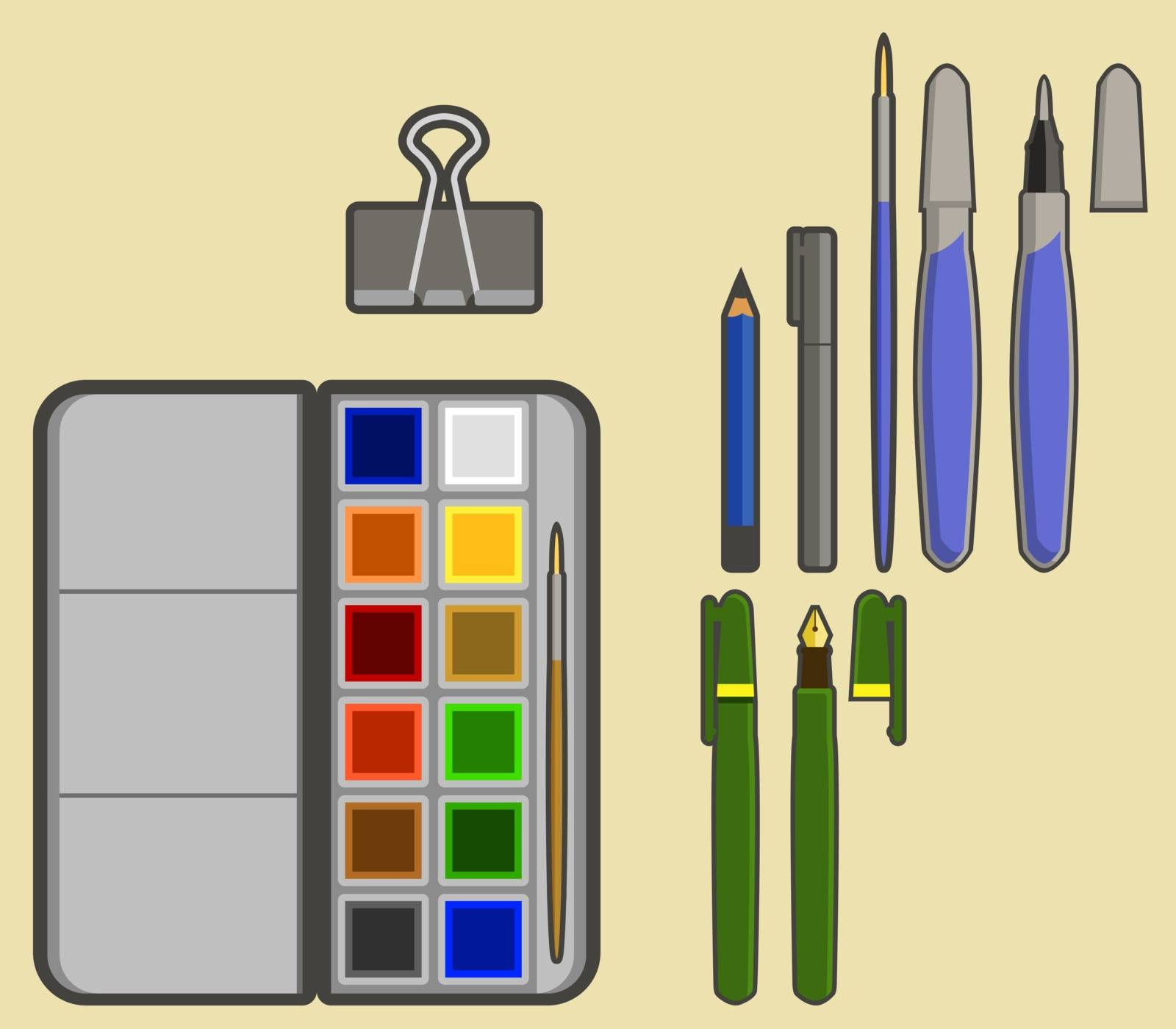 Contain drawing tool simple icon, such as pencil, pen, brush, sketchbook and watercolor