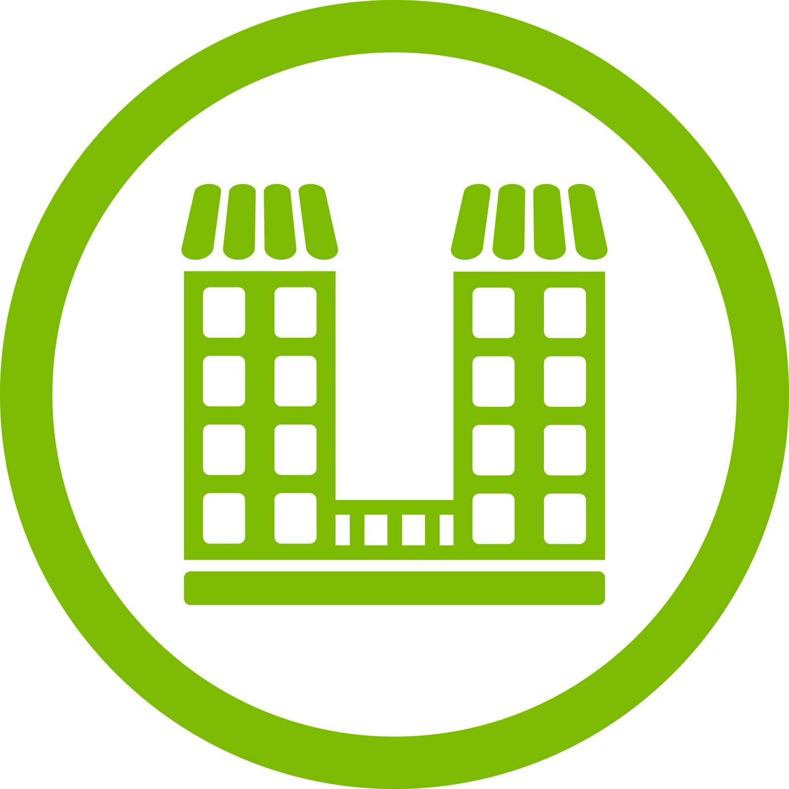 Company vector icon. This flat rounded symbol uses eco green color and isolated on a white background.