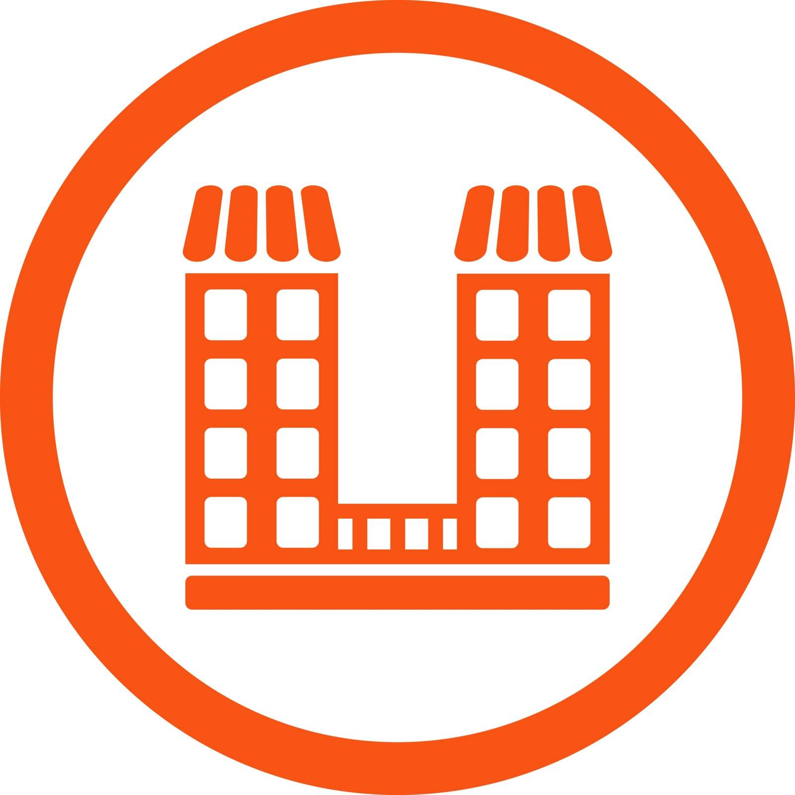 Company vector icon. This flat rounded symbol uses orange color and isolated on a white background.