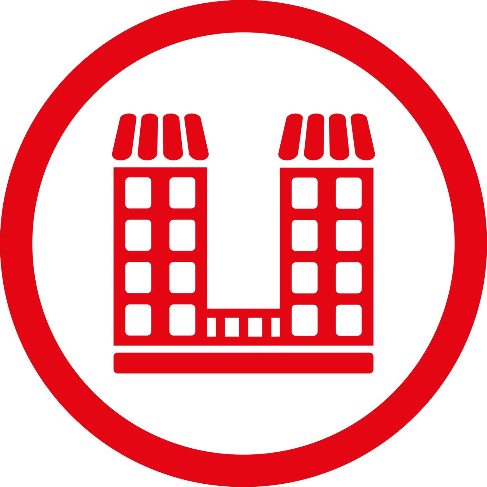 Company vector icon. This flat rounded symbol uses red color and isolated on a white background.