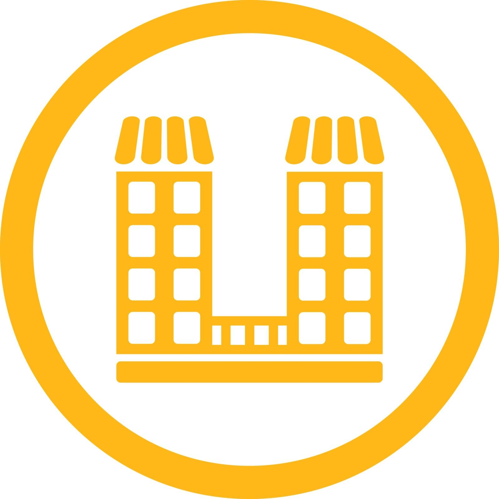 Company vector icon. This flat rounded symbol uses yellow color and isolated on a white background.