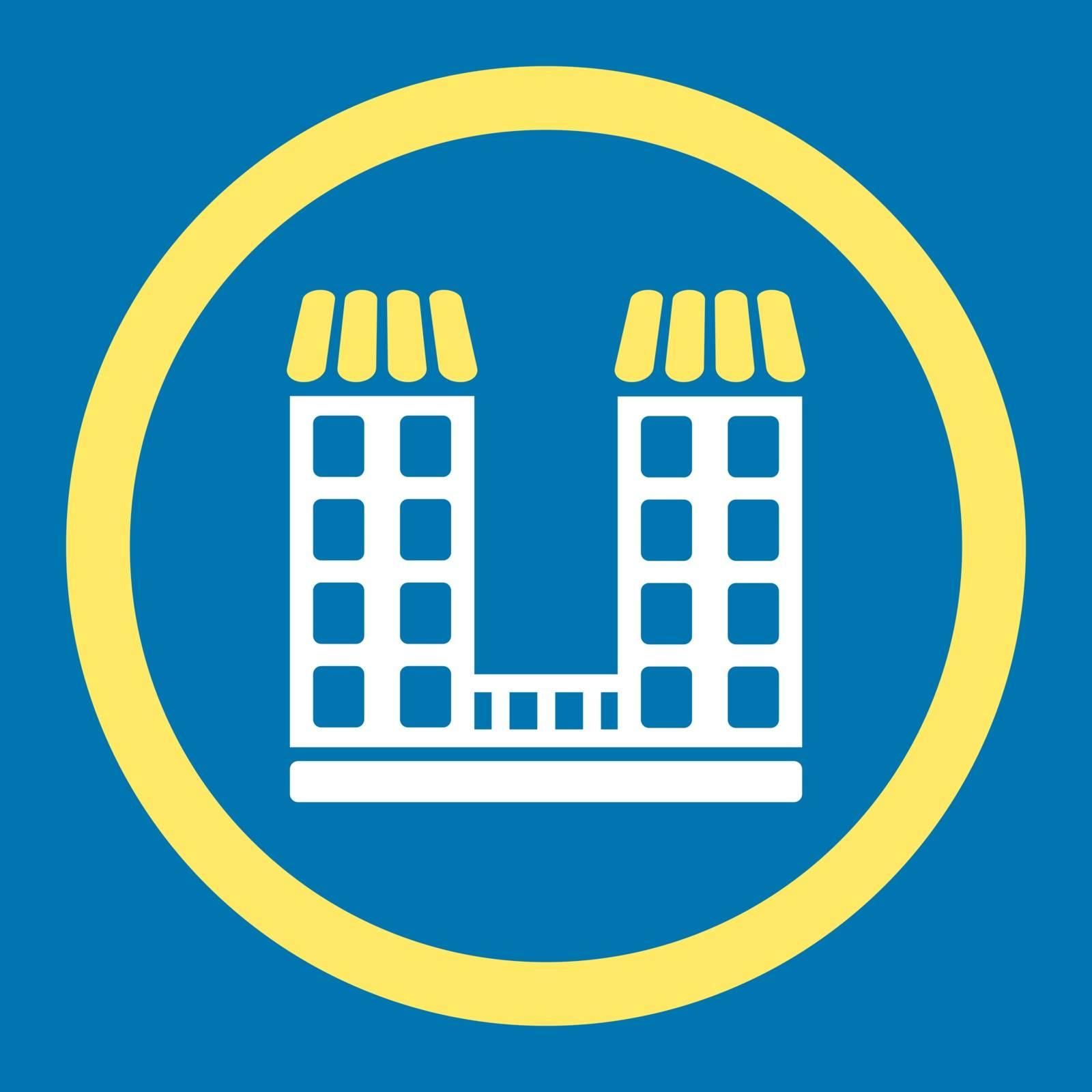 Company vector icon. This flat rounded symbol uses yellow and white colors and isolated on a blue background.