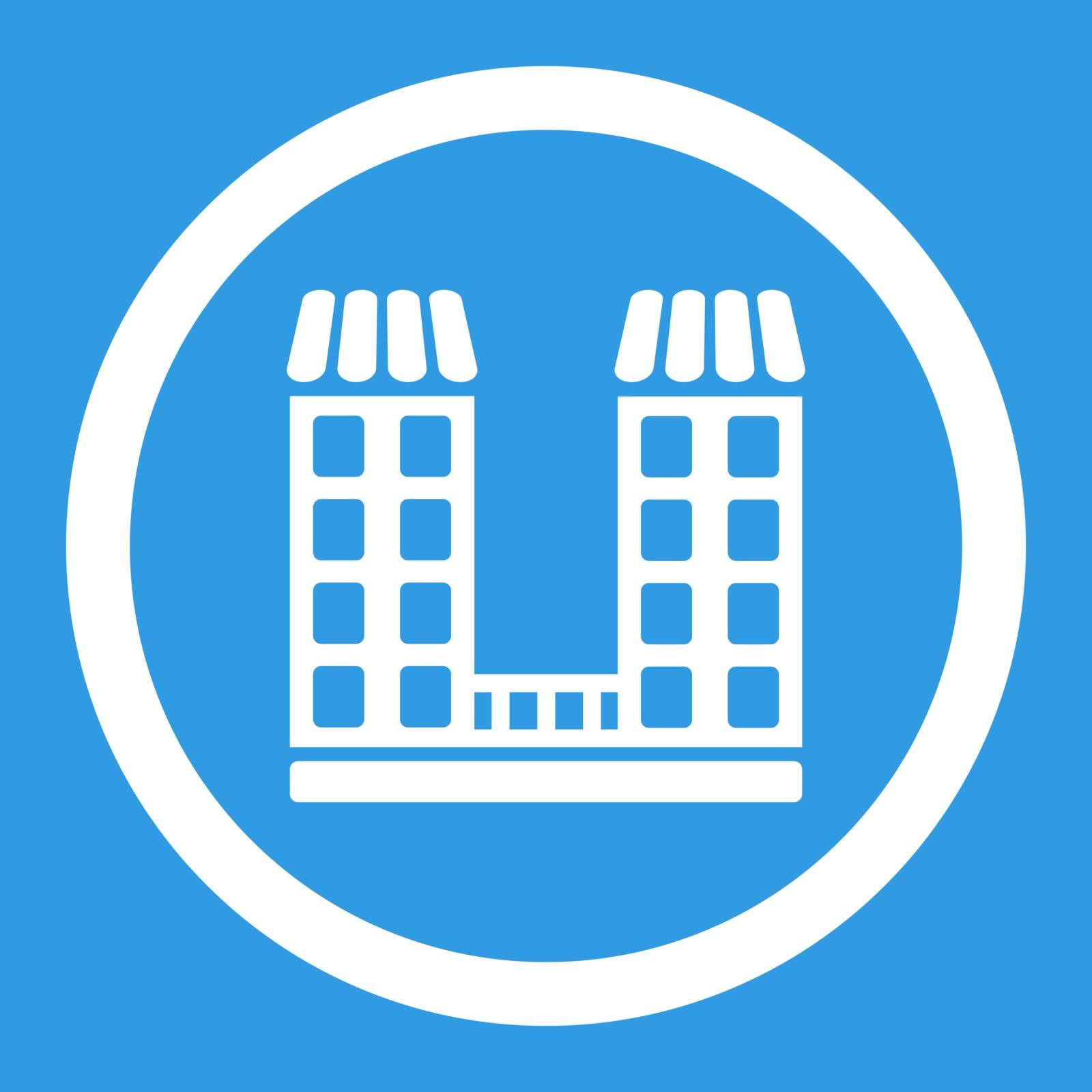 Company vector icon. This flat rounded symbol uses white color and isolated on a blue background.